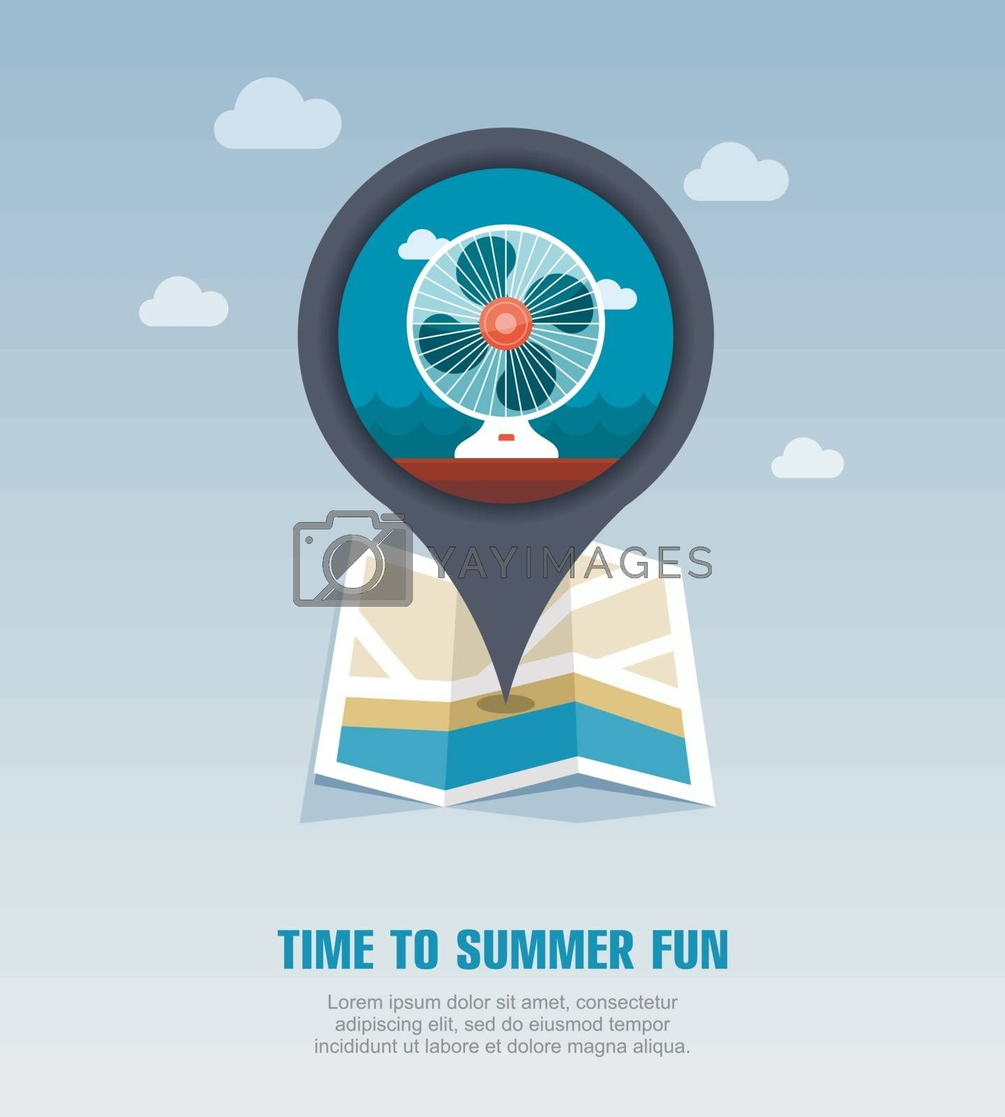 Ventilator pin map icon. Summer. Vacation by nosik
