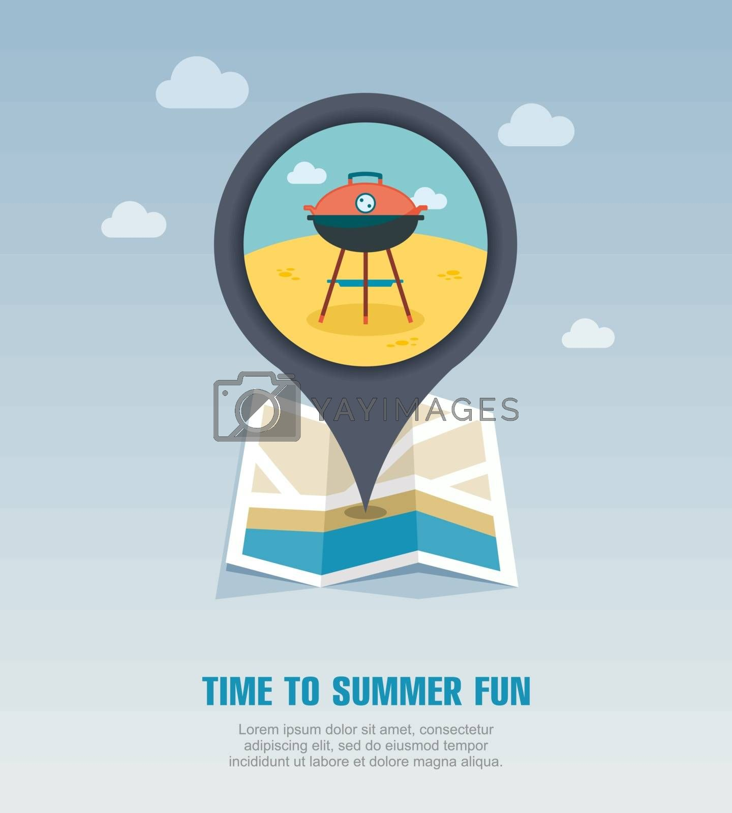 Barbecue grill pin map icon. Summer. Holiday by nosik