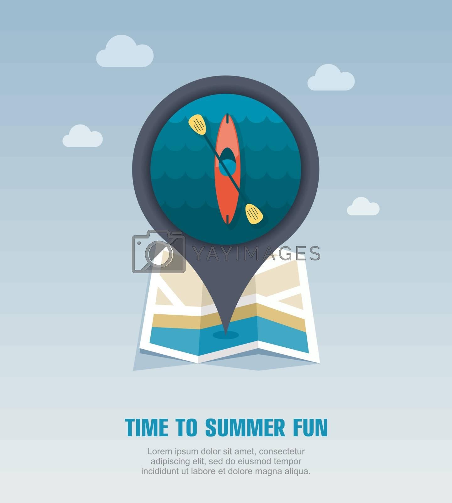 Kayak pin map icon. Canoe vector. Summer. Vacation by nosik