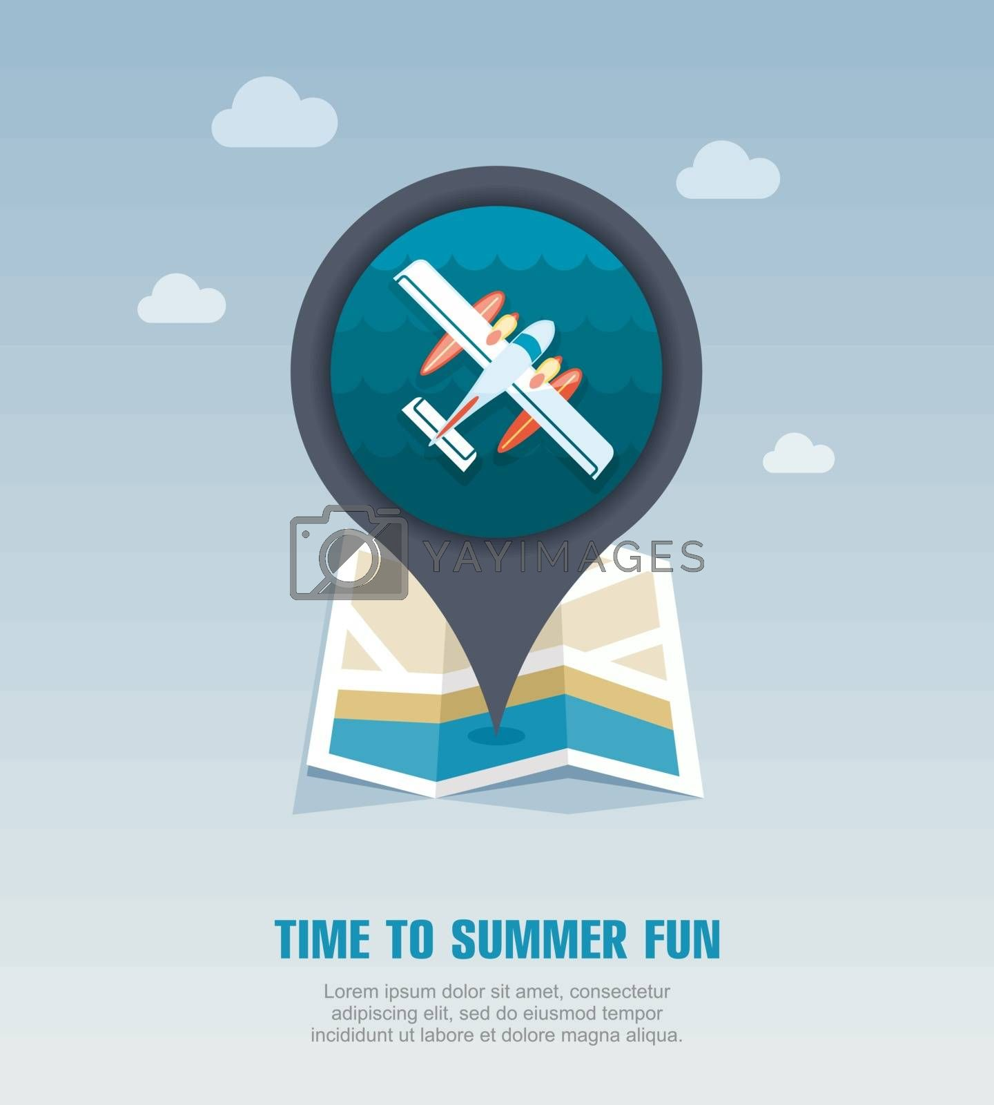 Hydroplane pin map icon. Summer. Vacation by nosik