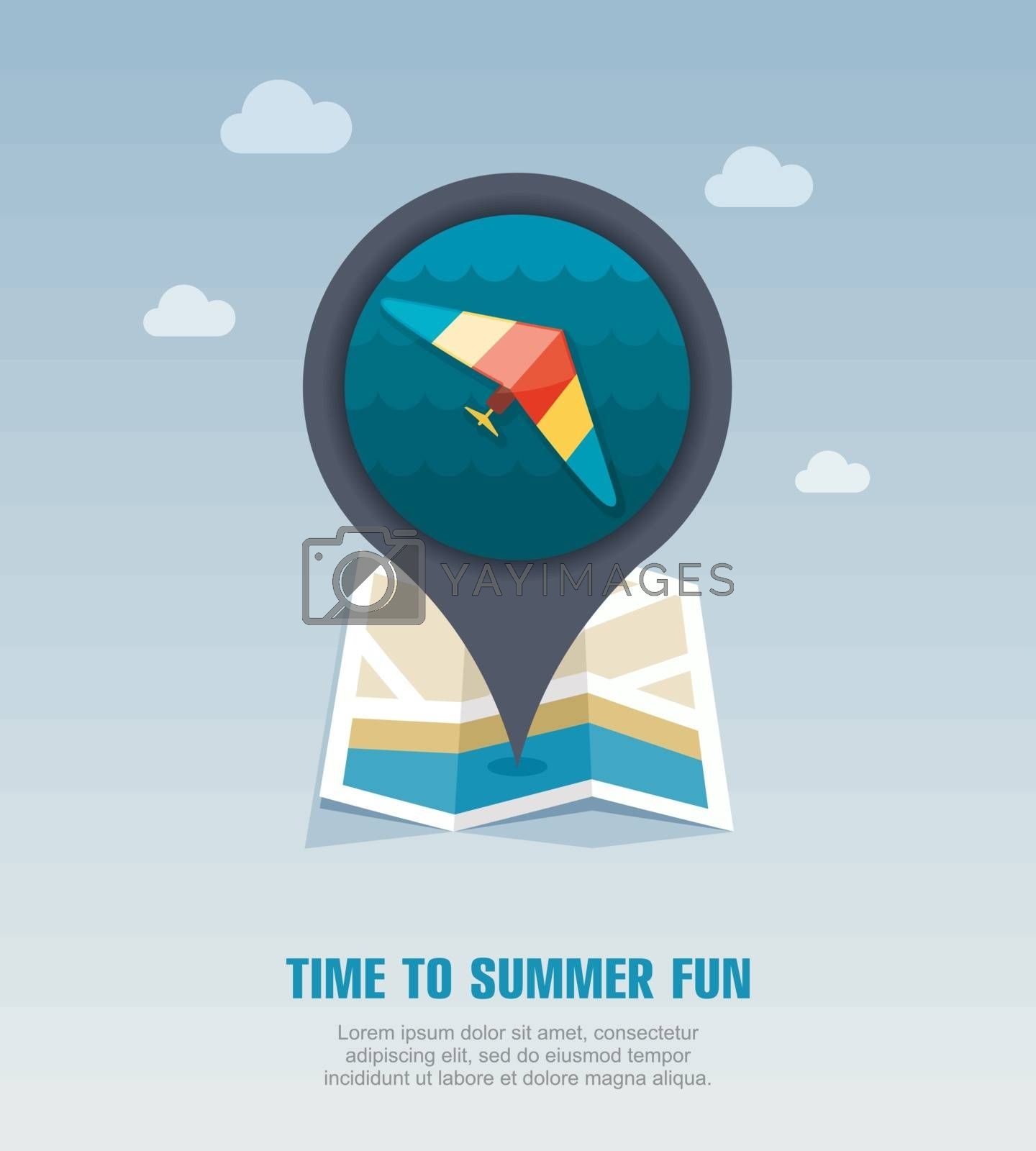 Hang Glider pin map icon. Summer. Vacation by nosik