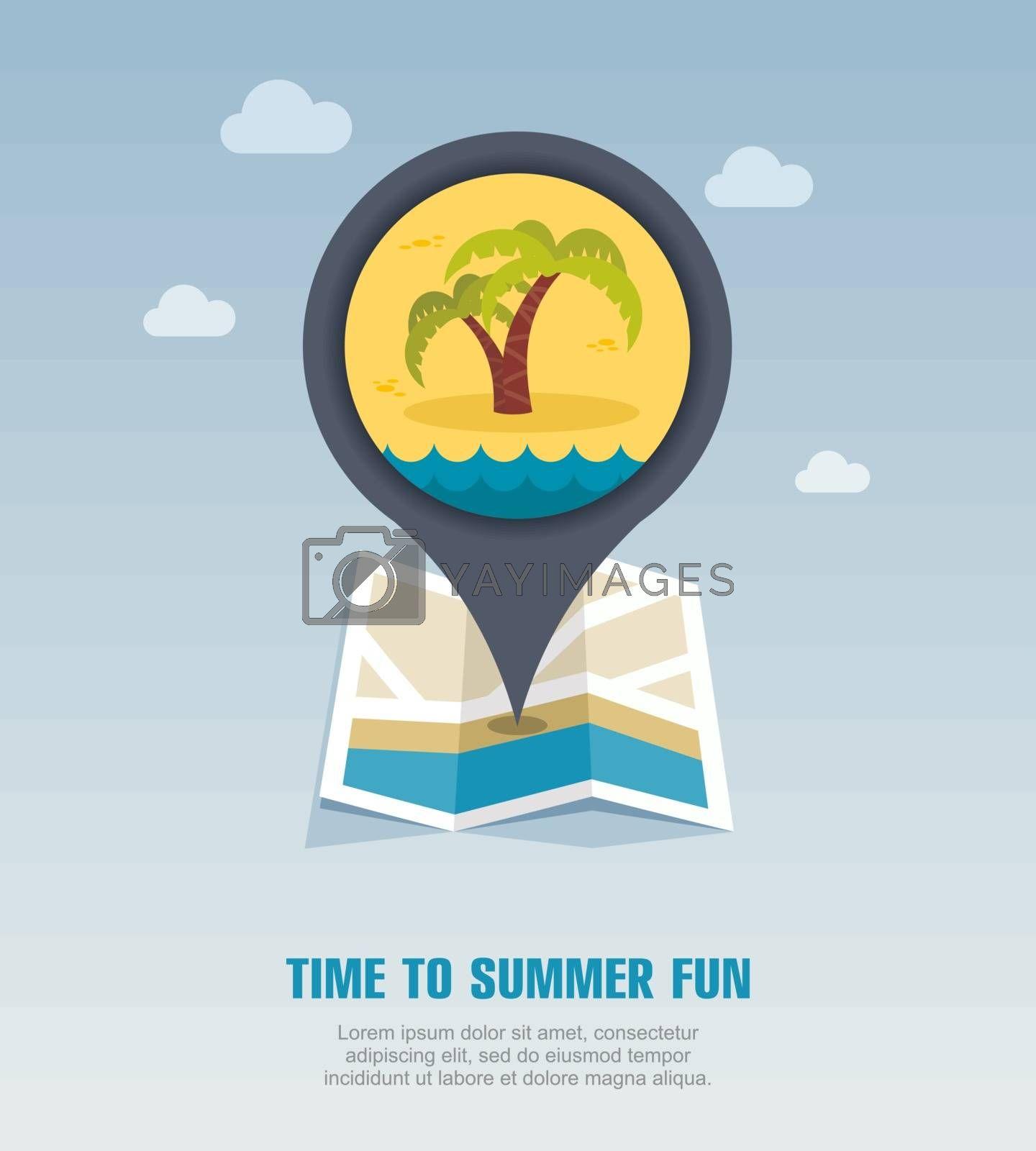Palm tree pin map icon. Summer. Vacation by nosik