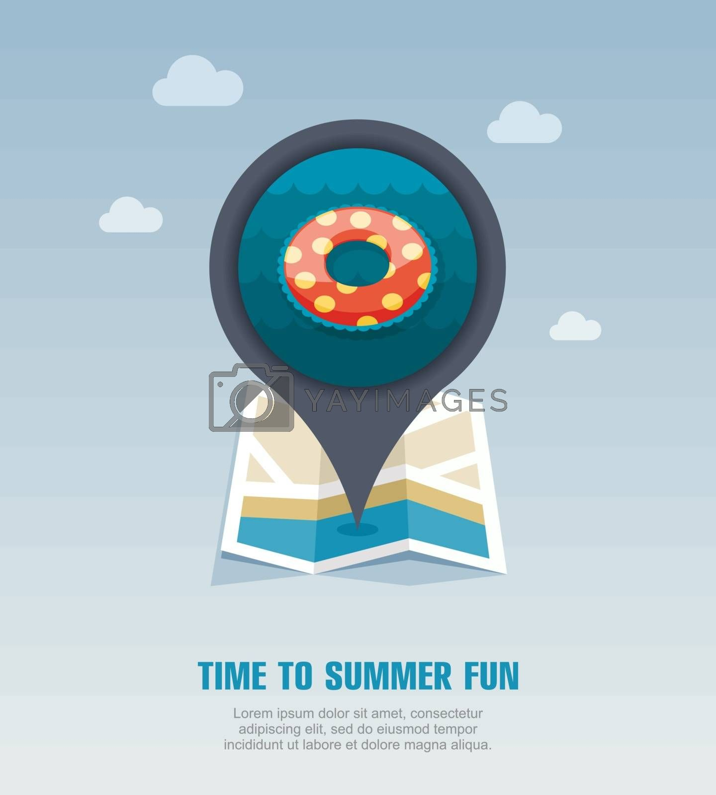 Swimming circle on water pin map icon. Vacation by nosik