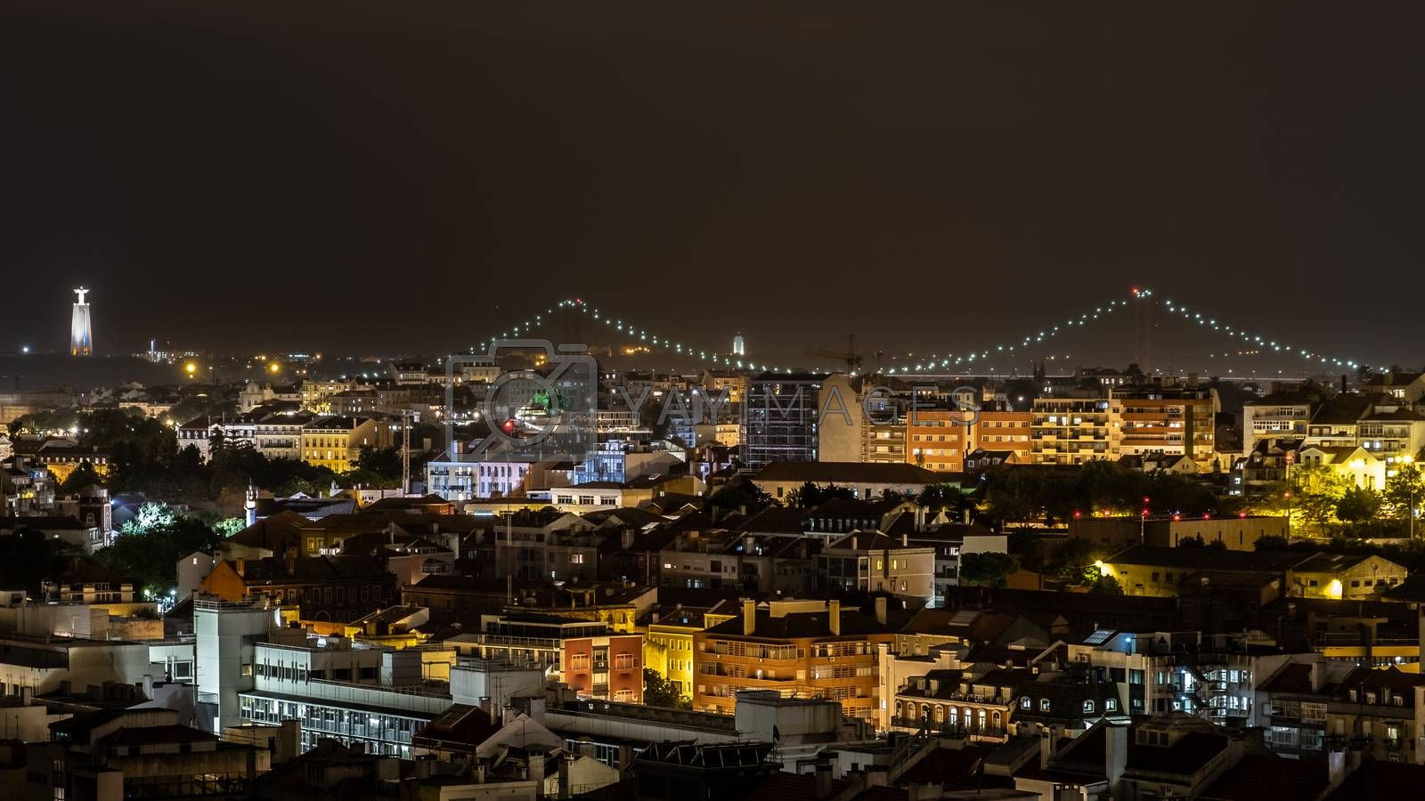 Royalty free image of Rooftop View of Lisbon City at Night by kstphotography
