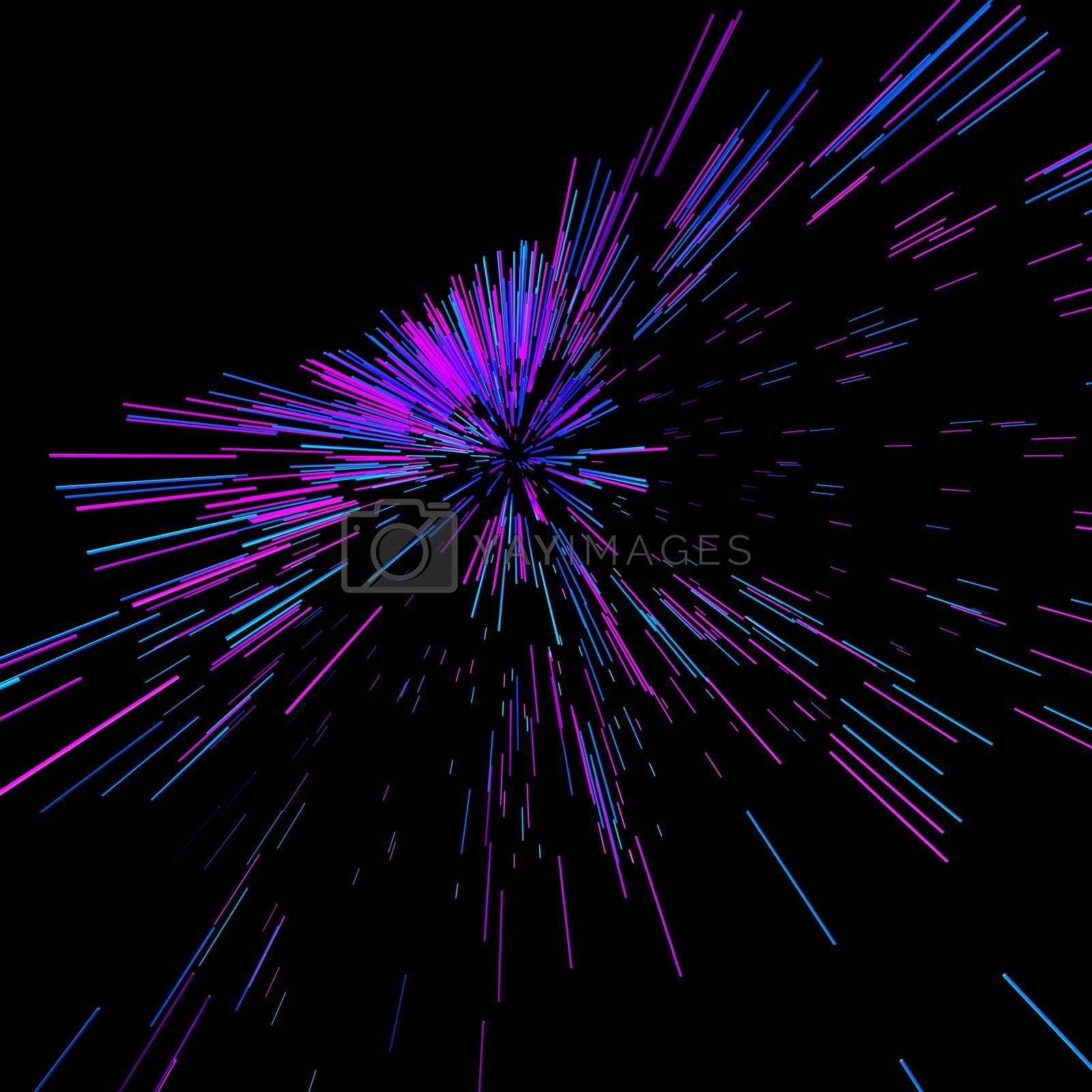 Abstract big data background wallpaper design. Motion pattern texture with shine colorful lines and cubes. Modern light shiny backdrop illustration. 3D render by Shanvood