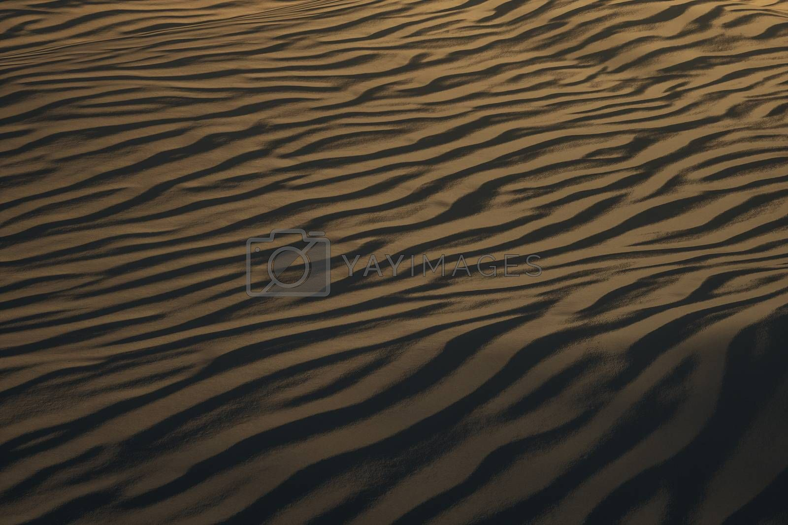 3d rendering, the wide desert, with stripes shapes. by vinkfan