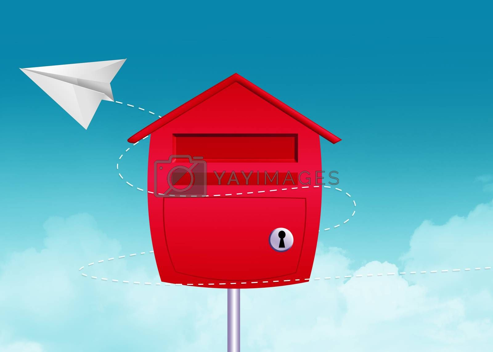 paper airplane and mailbox by adrenalina