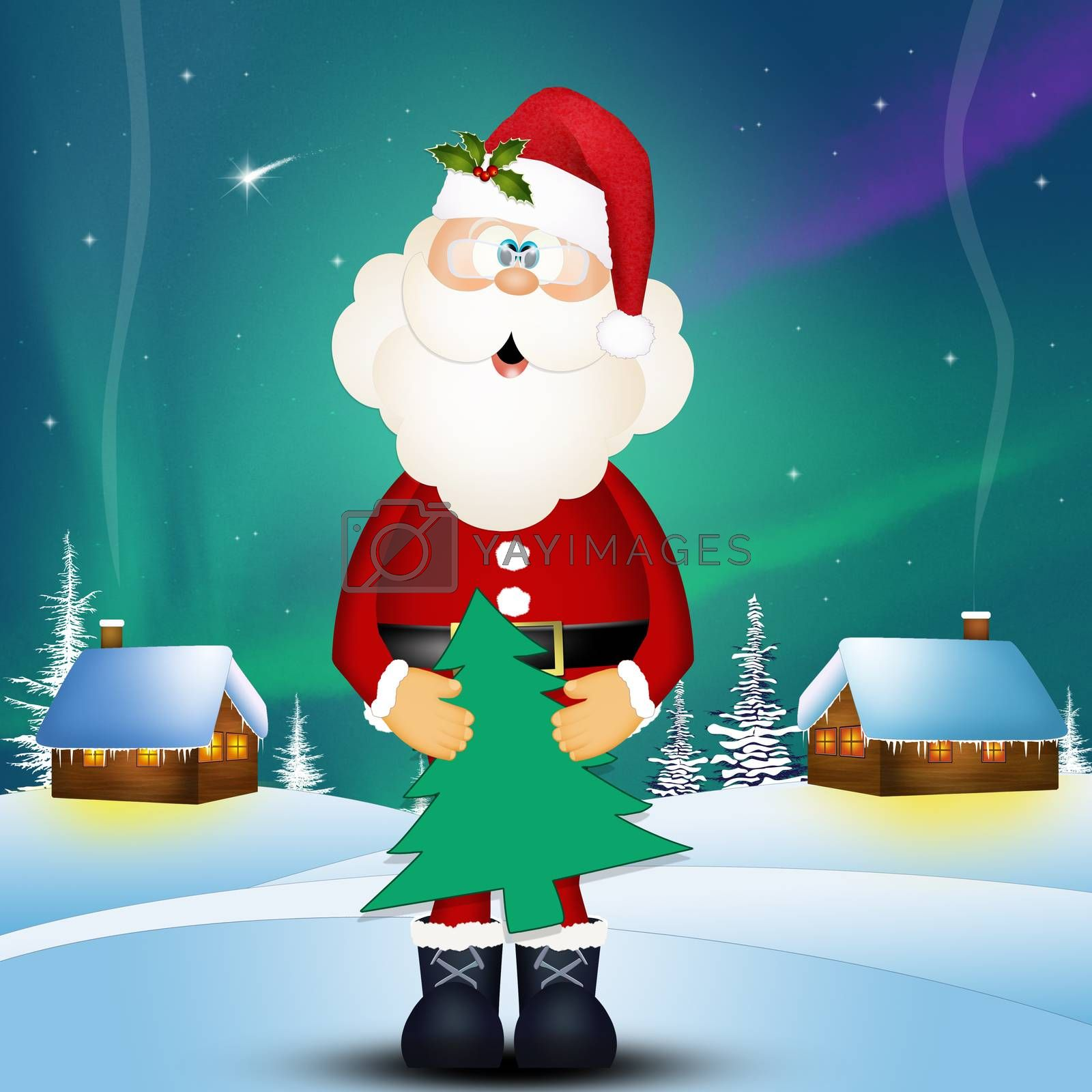 Santa Claus with Christmas tree decoration by adrenalina