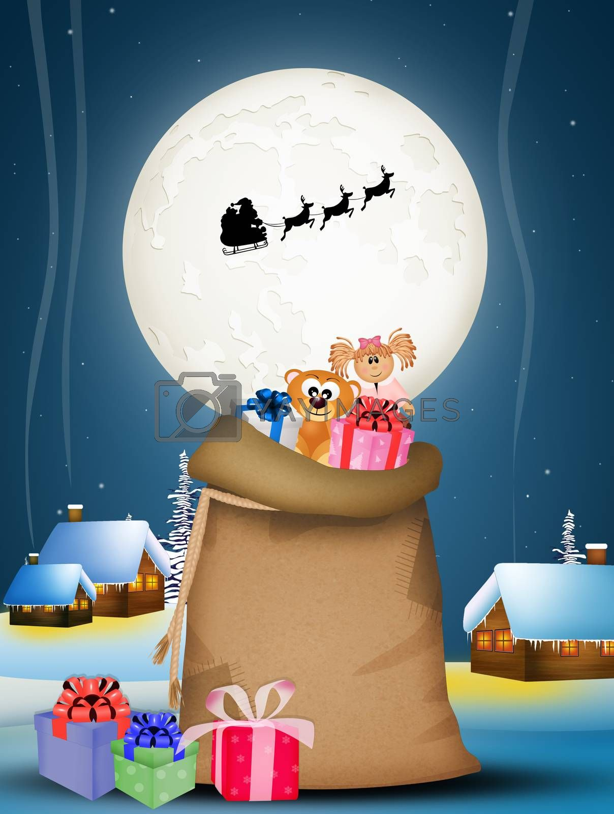 sack of gifts on Christmas night by adrenalina