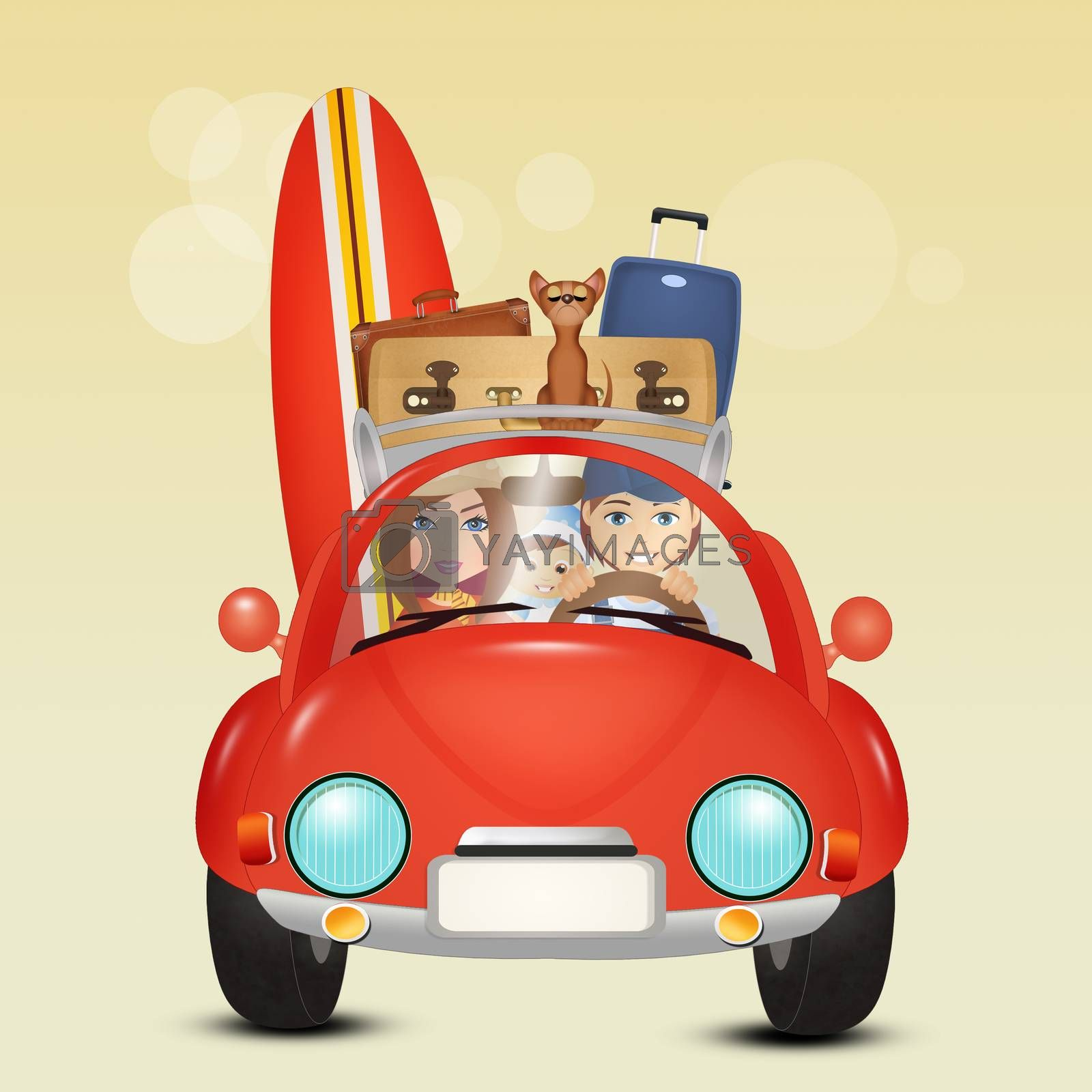 family travels by car by adrenalina