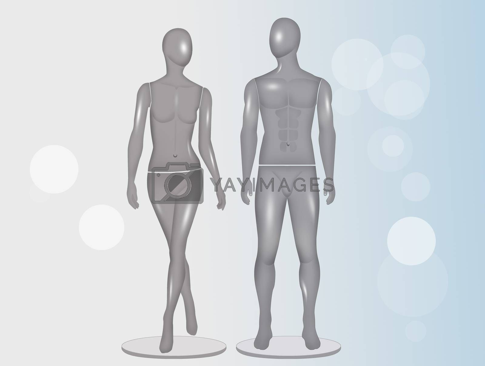 male and female mannequin by adrenalina