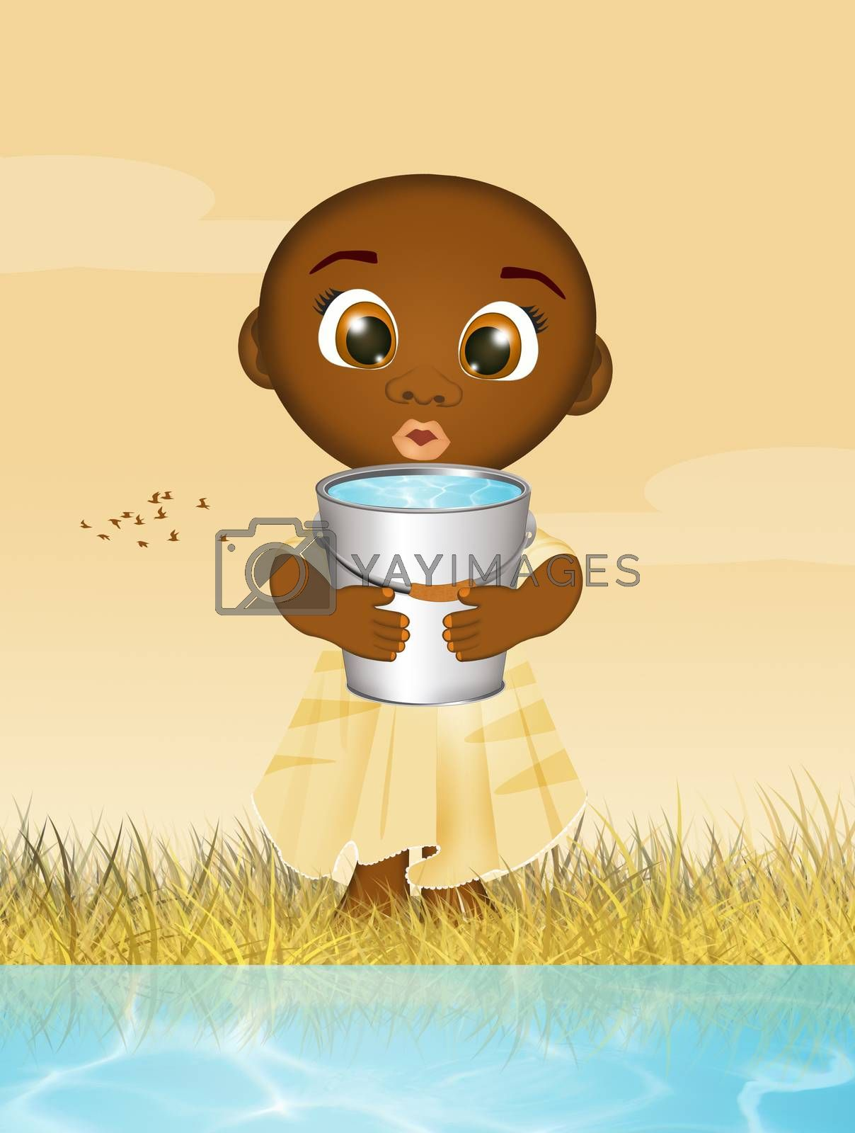 African child takes water to the river by adrenalina