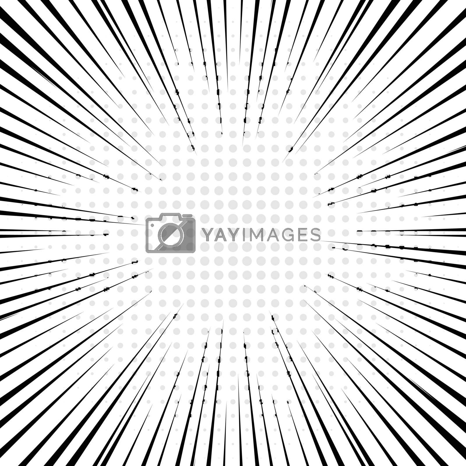Black radial lines with gray halftone for comic book background. Manga speed frame. Vector illustration