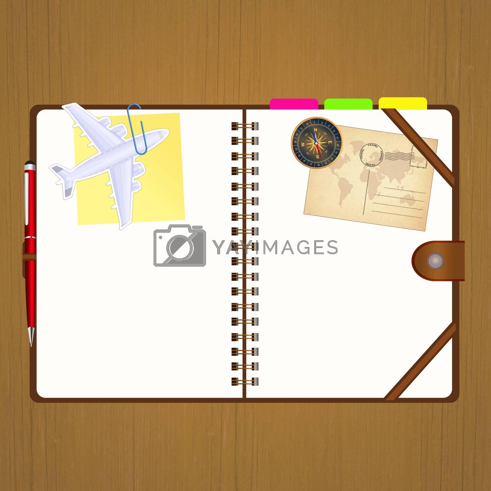 illustration of travel diary