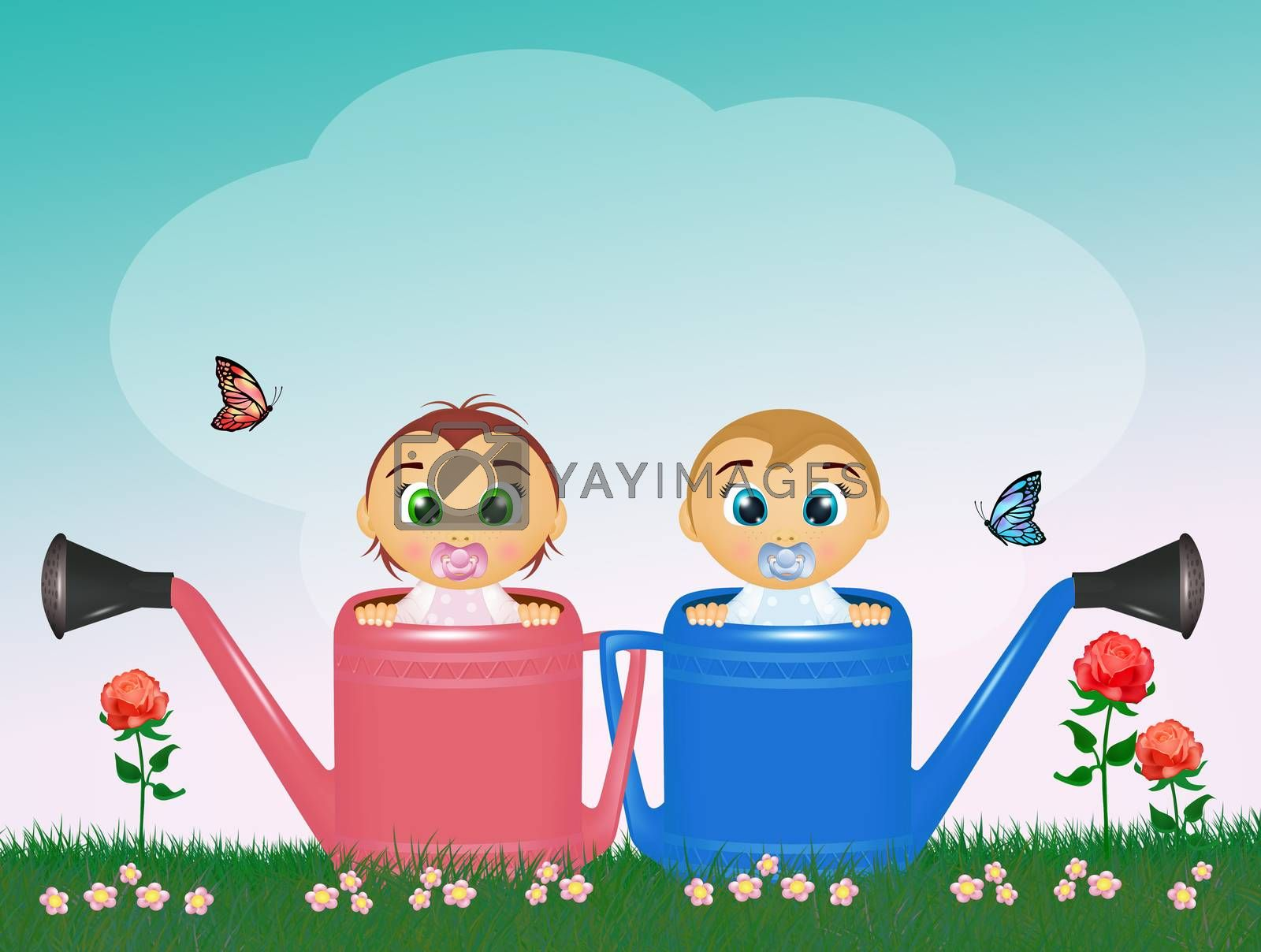 illustration of babies on watering can