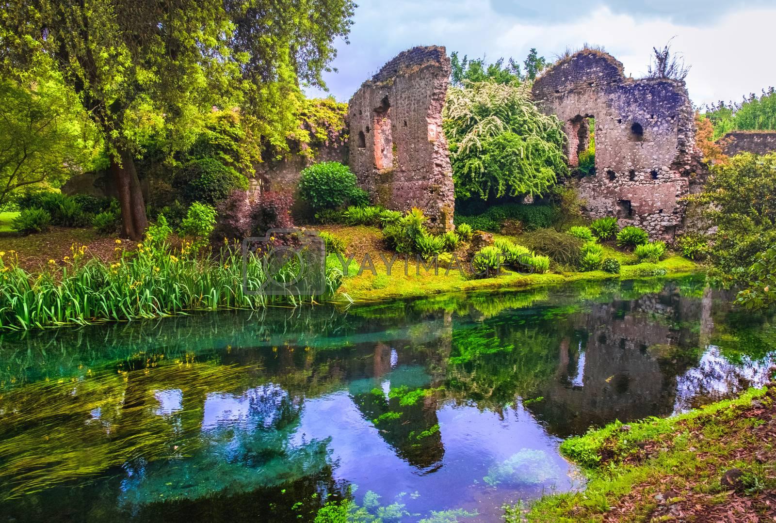 dream river enchanted castle ruins garden fairy tale nymph garden by Luca Lorenzelli
