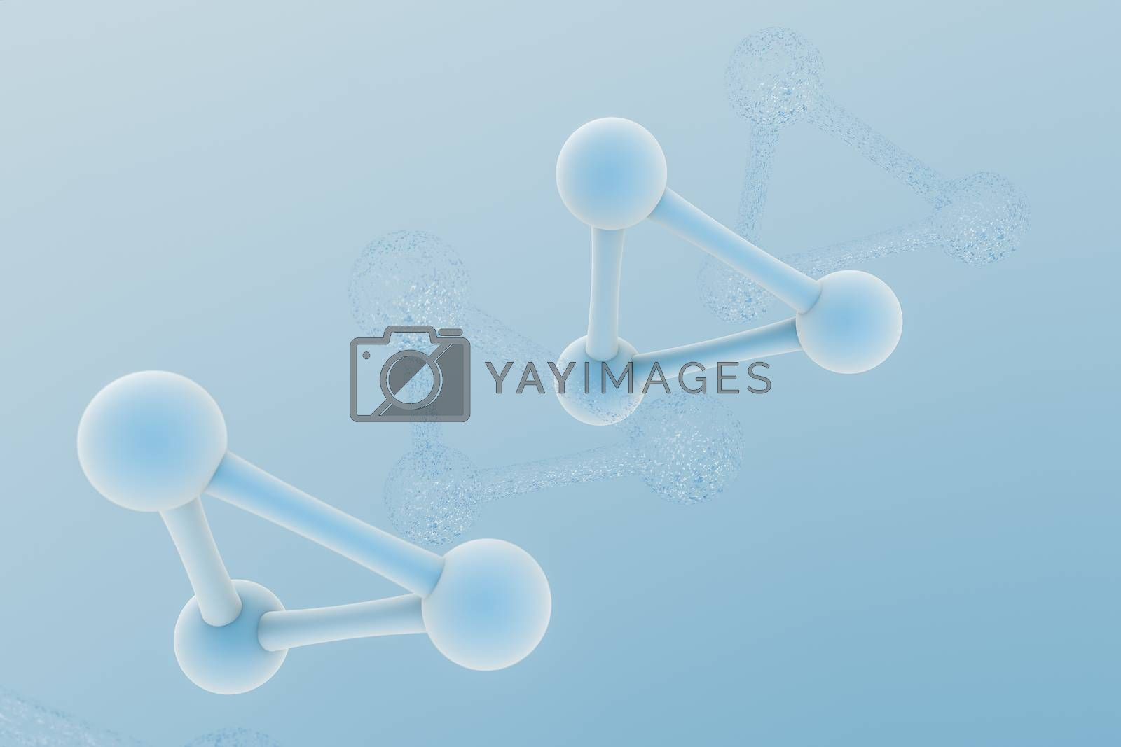 3d rendering, blue chemical formula with particle effects by vinkfan