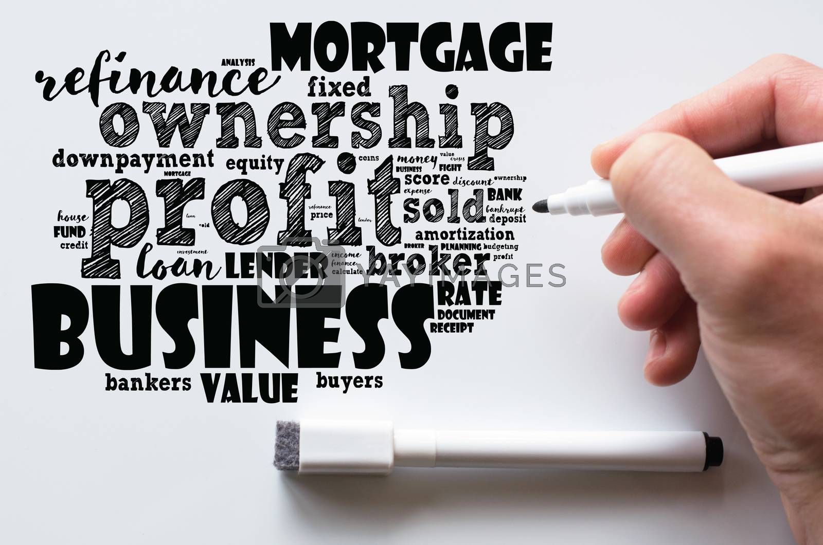 Profit word cloud collage over whiteboard background