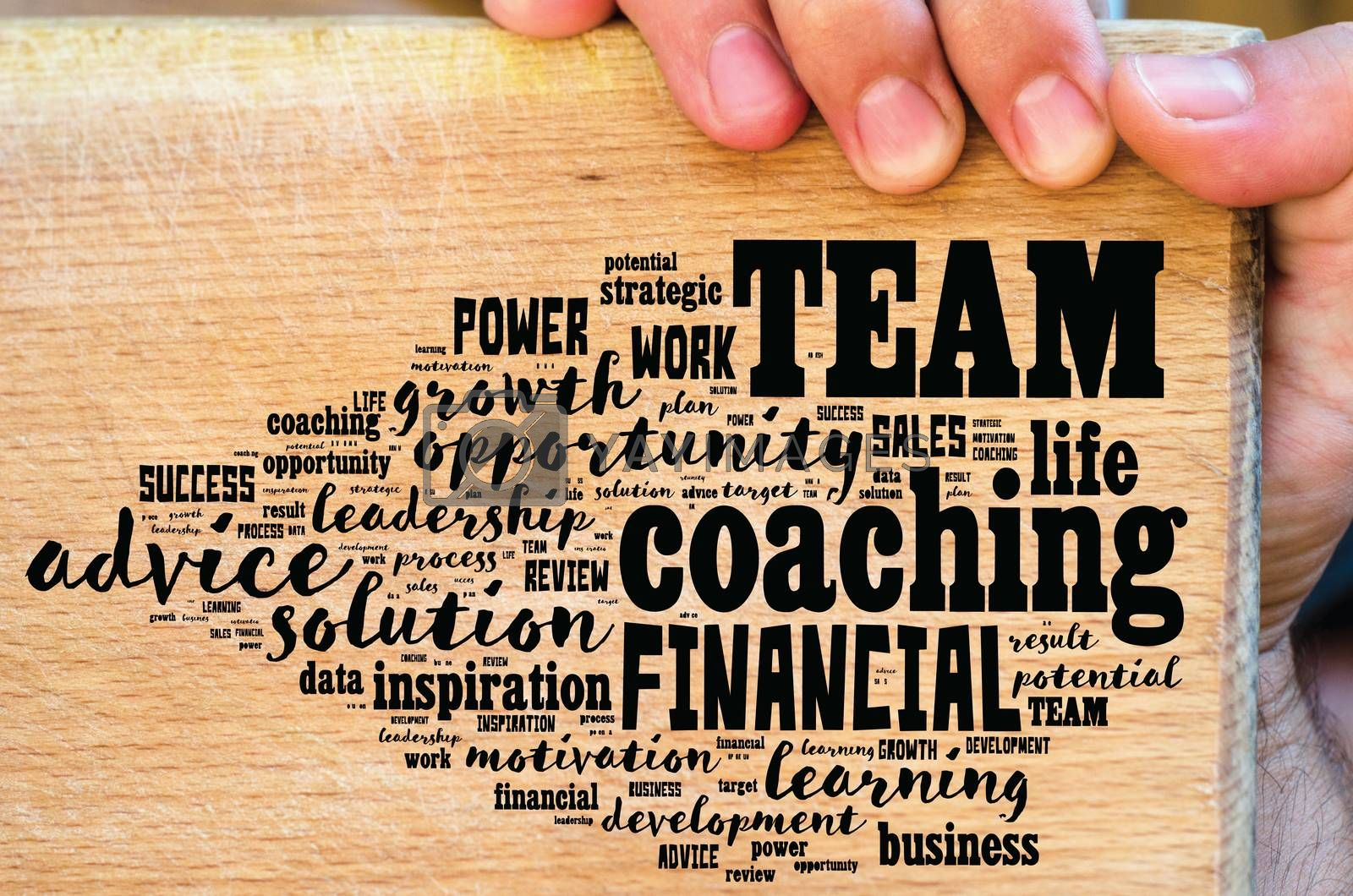 Team word cloud collage over wooden background