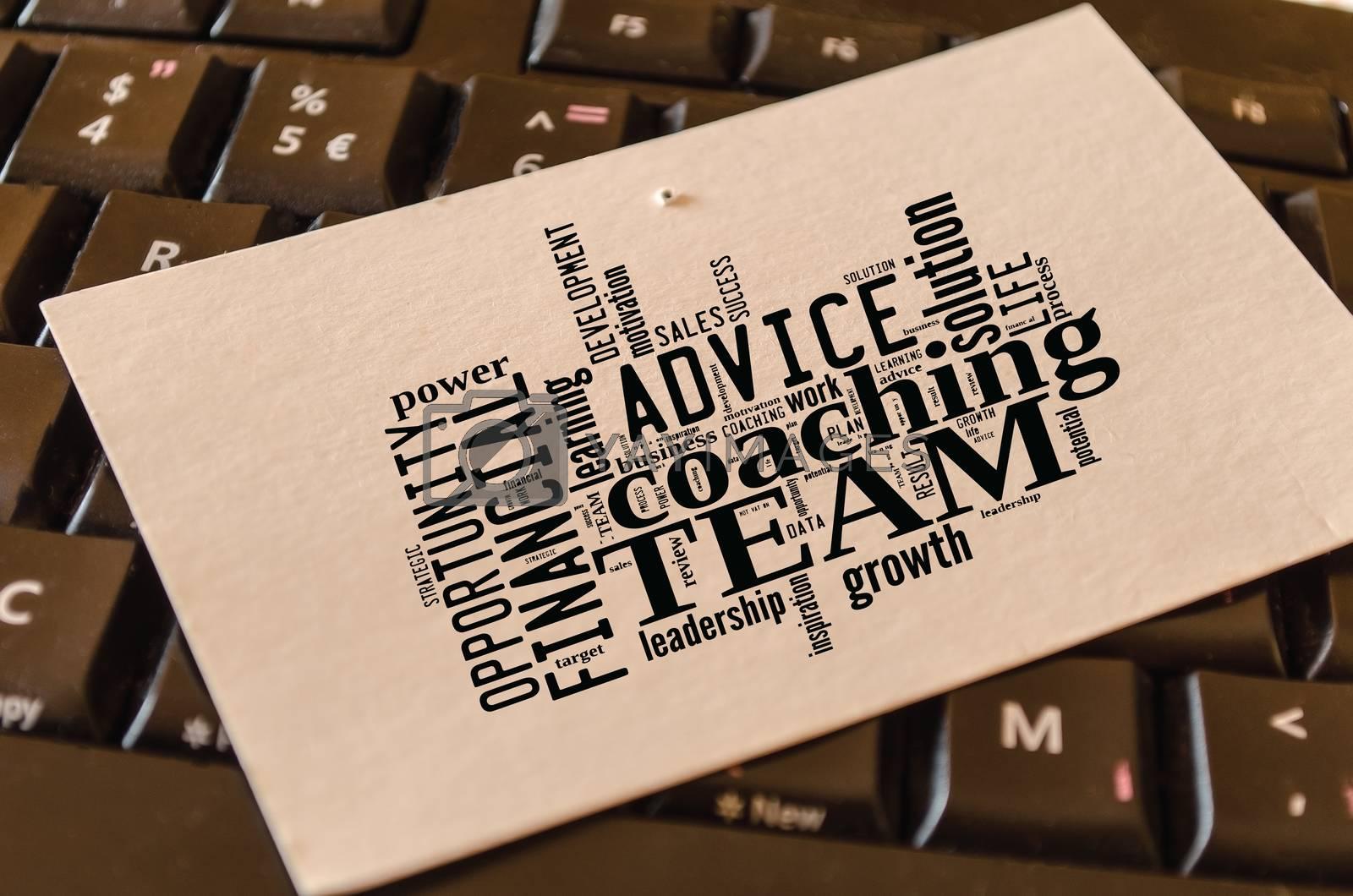 Team word cloud collage over dark background