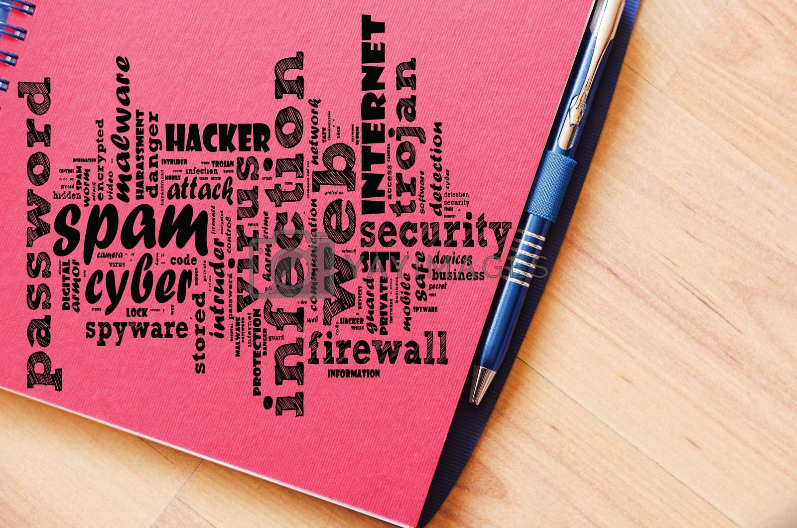 Spam word cloud collage over notepad background