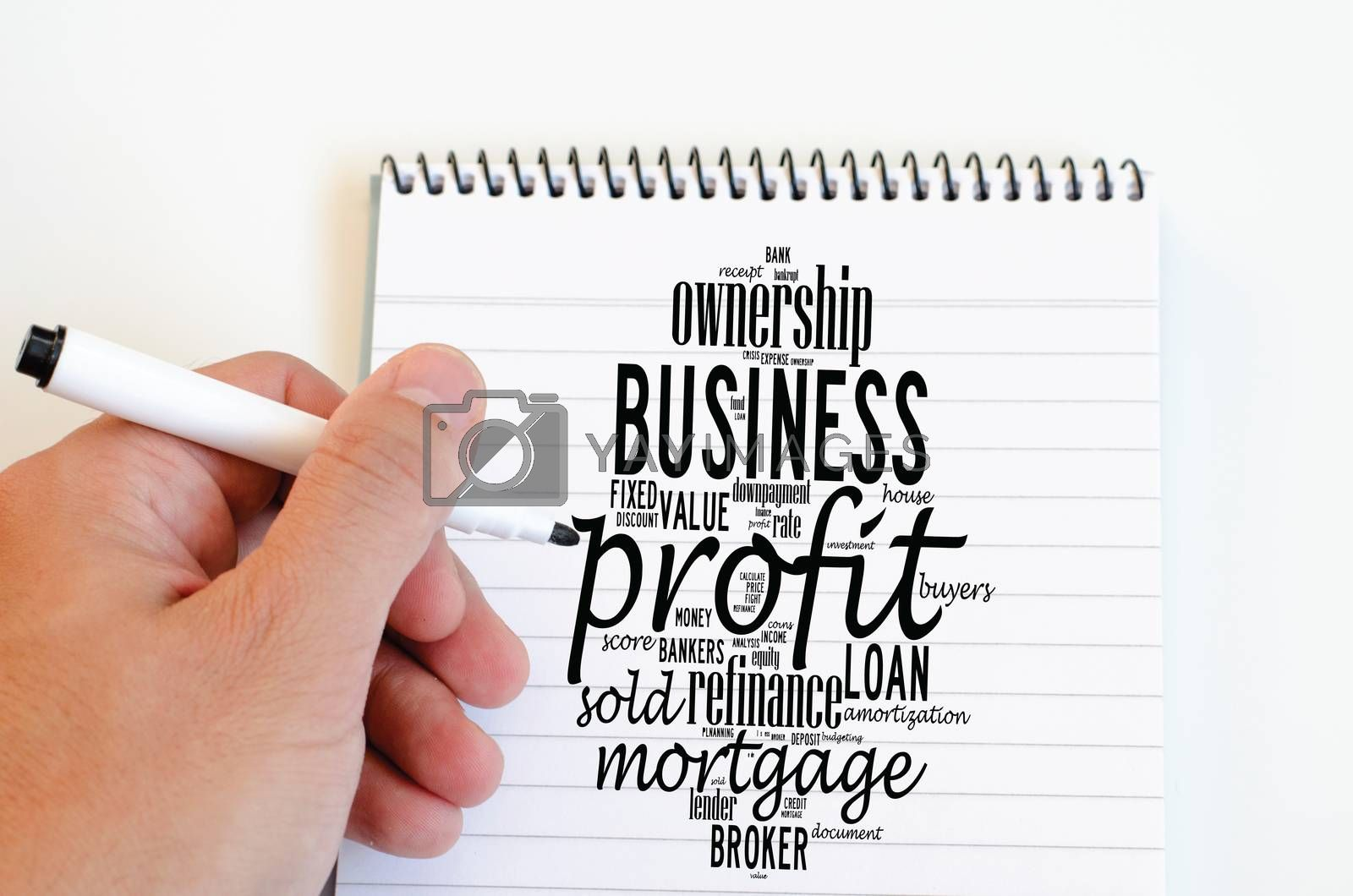 Profit word cloud collage over notepad background