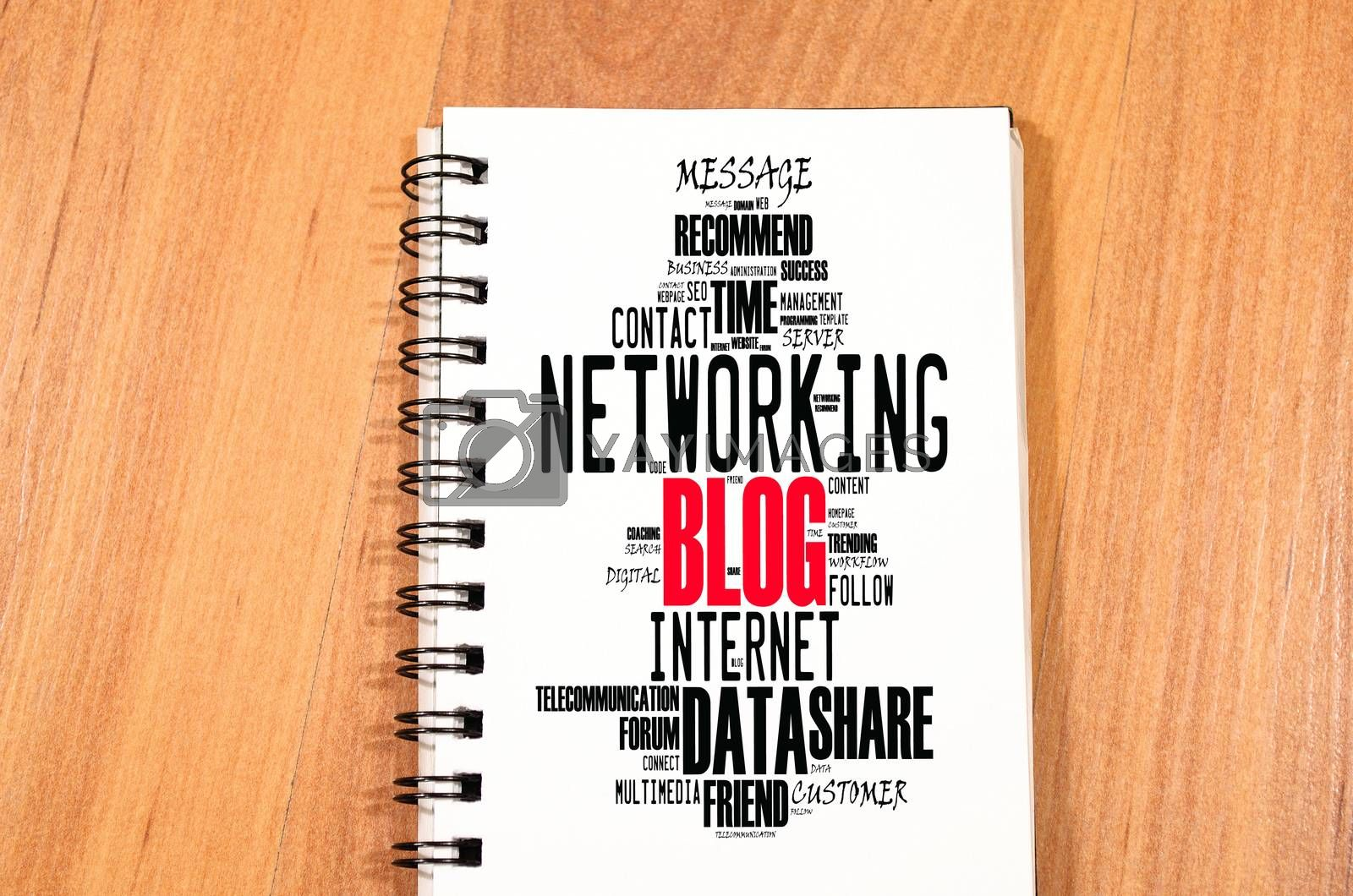 Blog word cloud collage over notepad background
