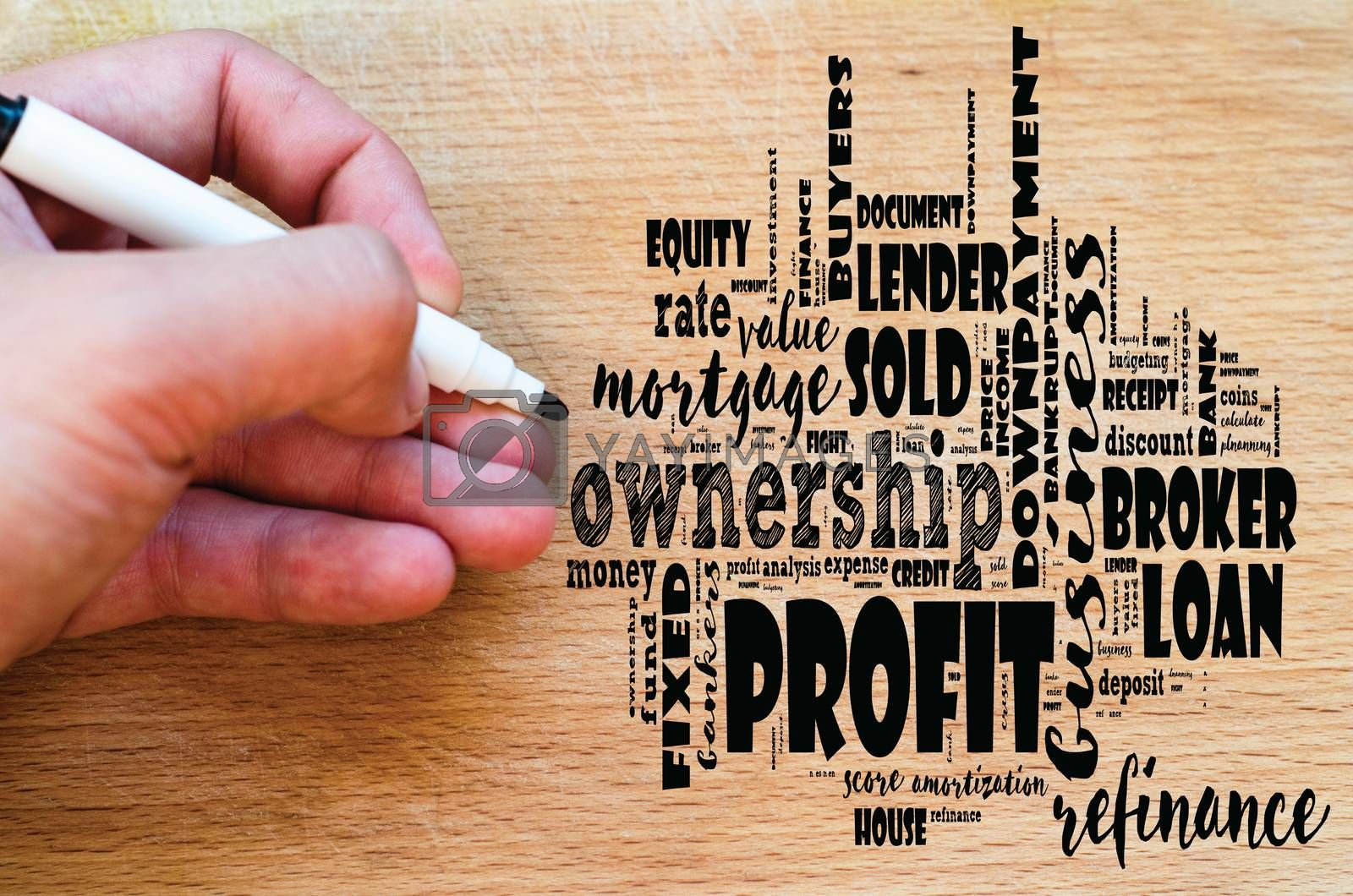 Profit word cloud collage over wooden background