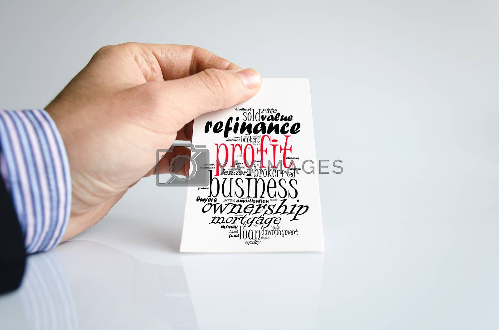 Profit word cloud collage over human hand background
