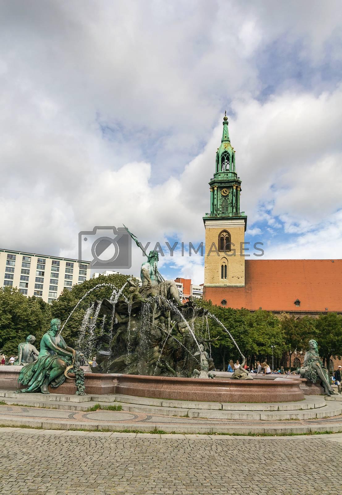 The Neptune Fountain in Berlin, Germany by borisb17