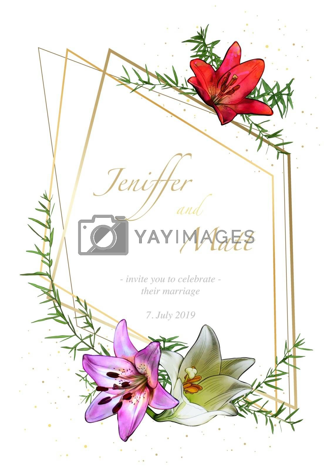Floral Wedding Invitation Card with Watercolor Flowers with Leafs and Golden Decoration - Colored Illustration, Vector Graphic