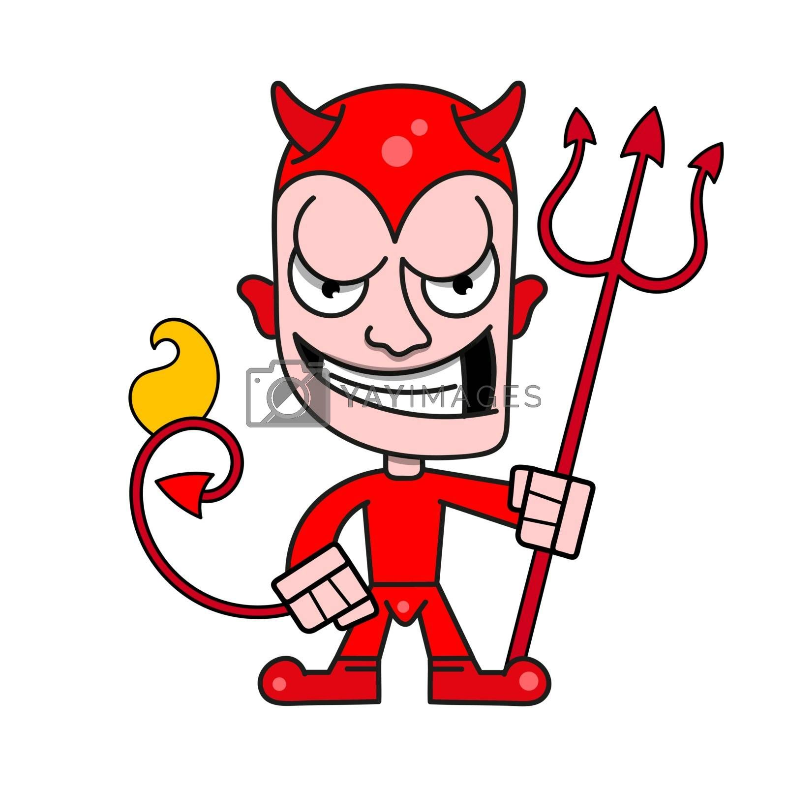 Cute Little Devil With Horns And A Flaming Trident, Vector Logo by brylov