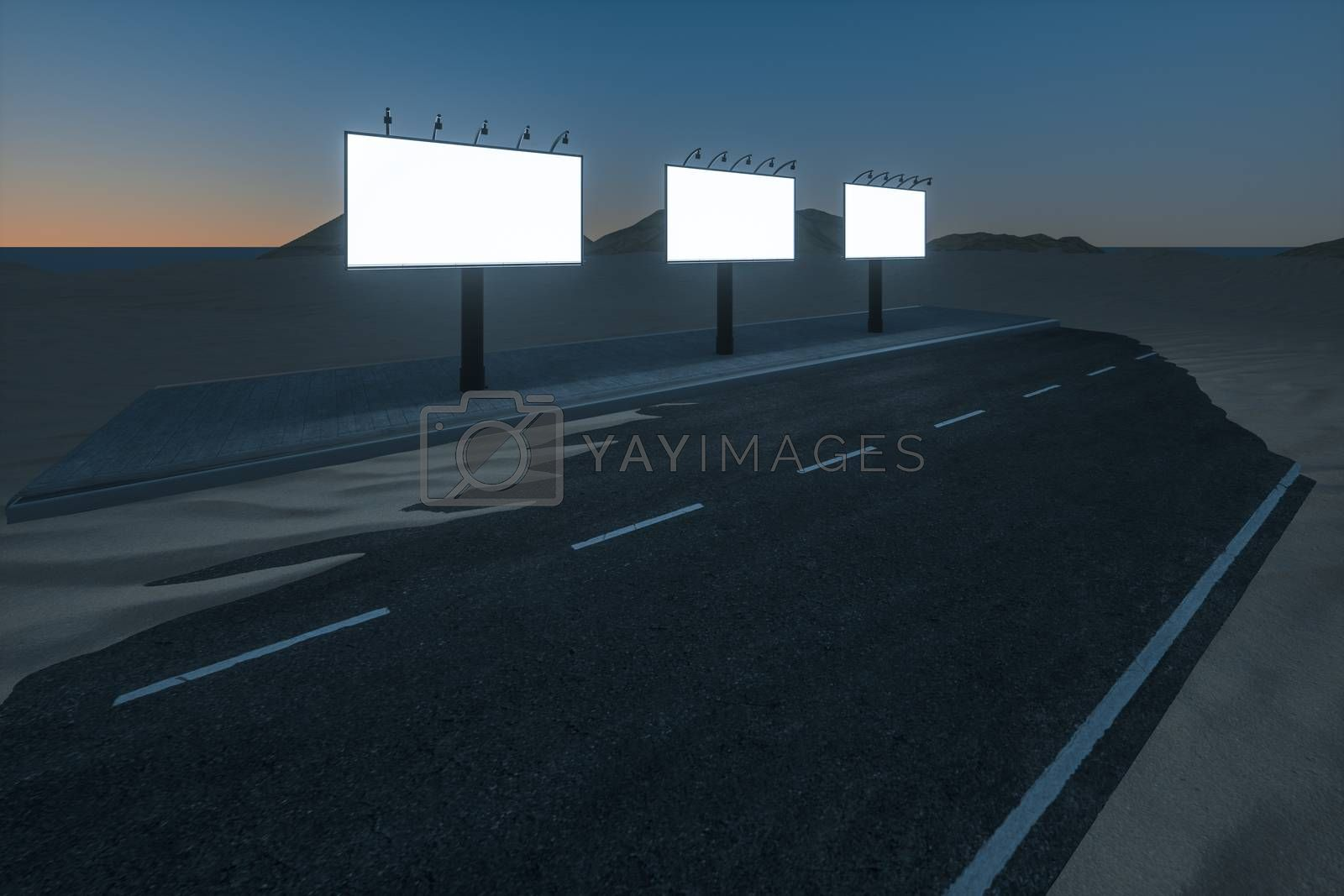 3d rendering, advertising billboard on the side of road. by vinkfan