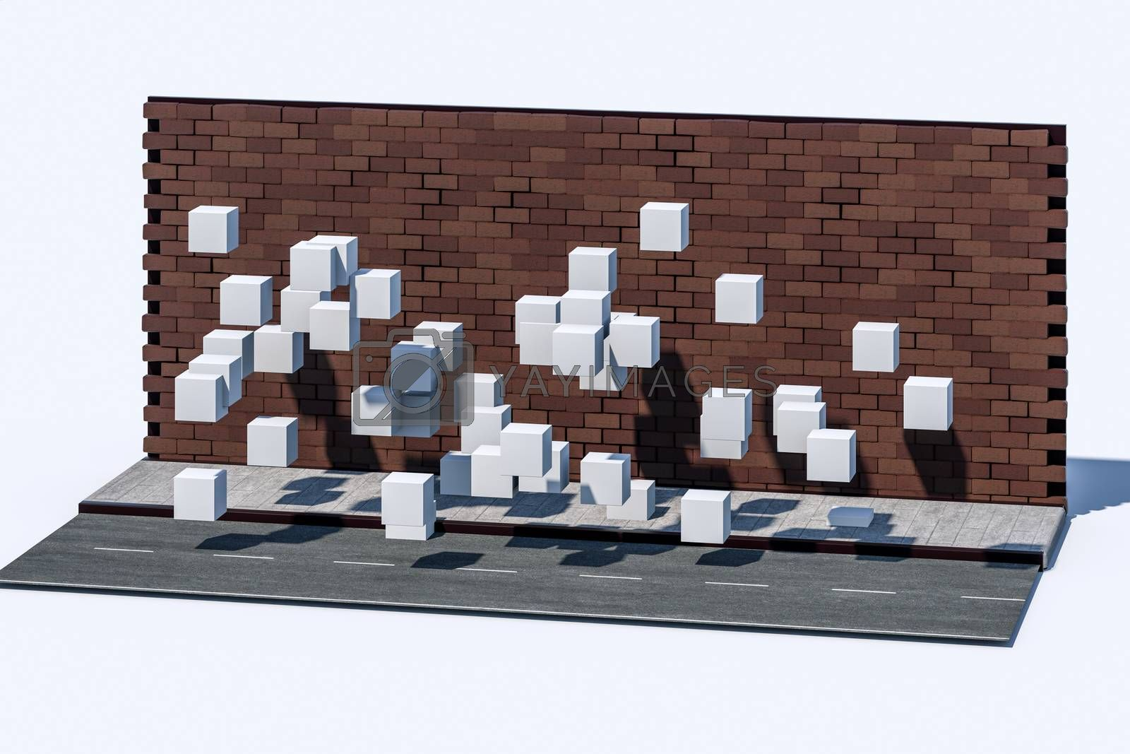 The brick wall and pitch street, 3d rendering. by vinkfan