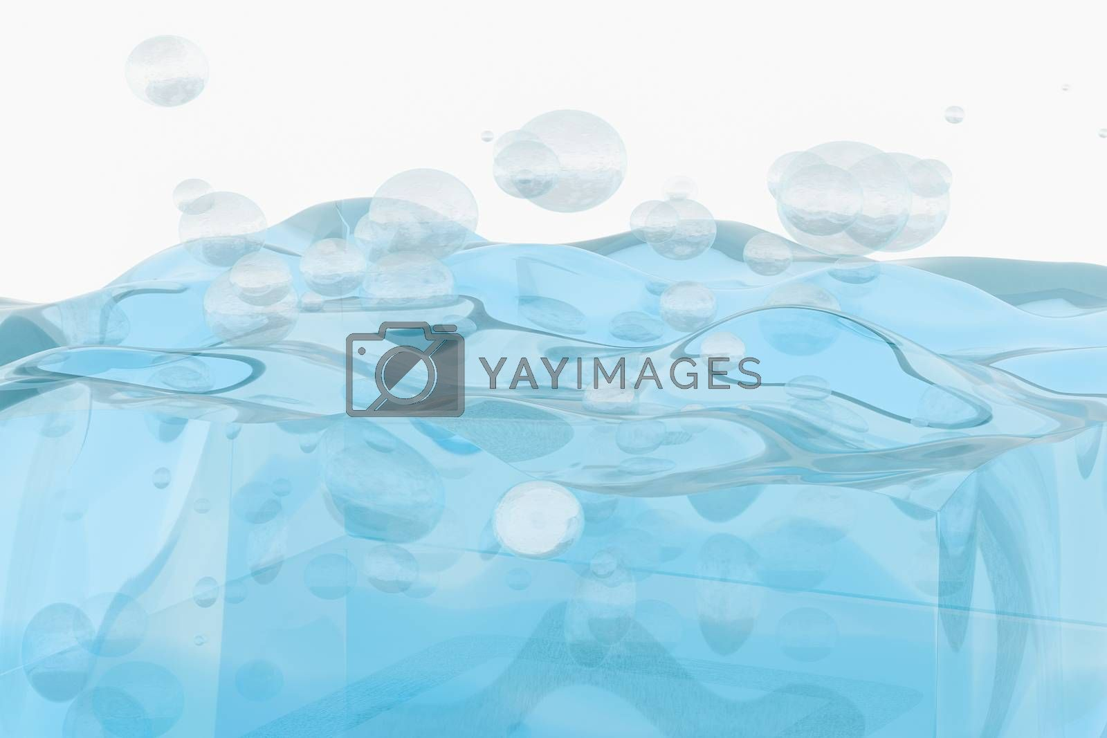 Light blue water wave cube, with creative spheres bubble, 3d rendering. by vinkfan