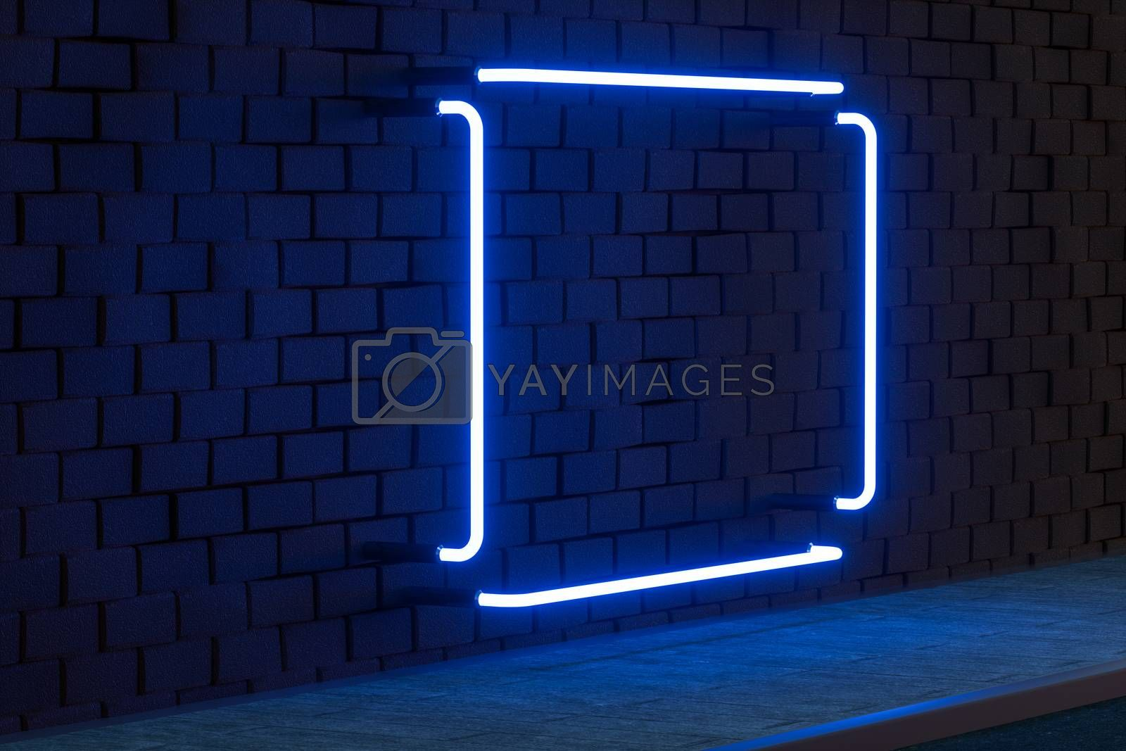 The glowing neon with brick wall background, 3d rendering. by vinkfan