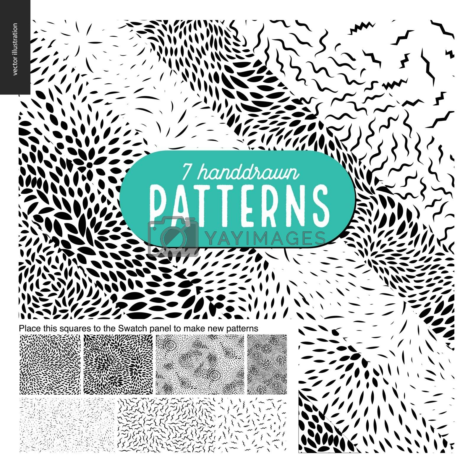 Hand drawn black and white 7 patterns set by grivina