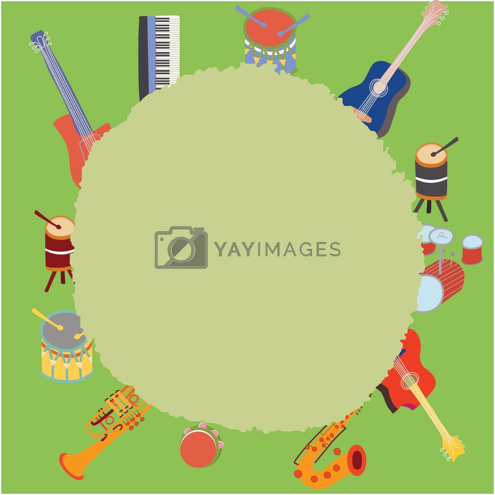 Musical instruments border by Nata_Prando