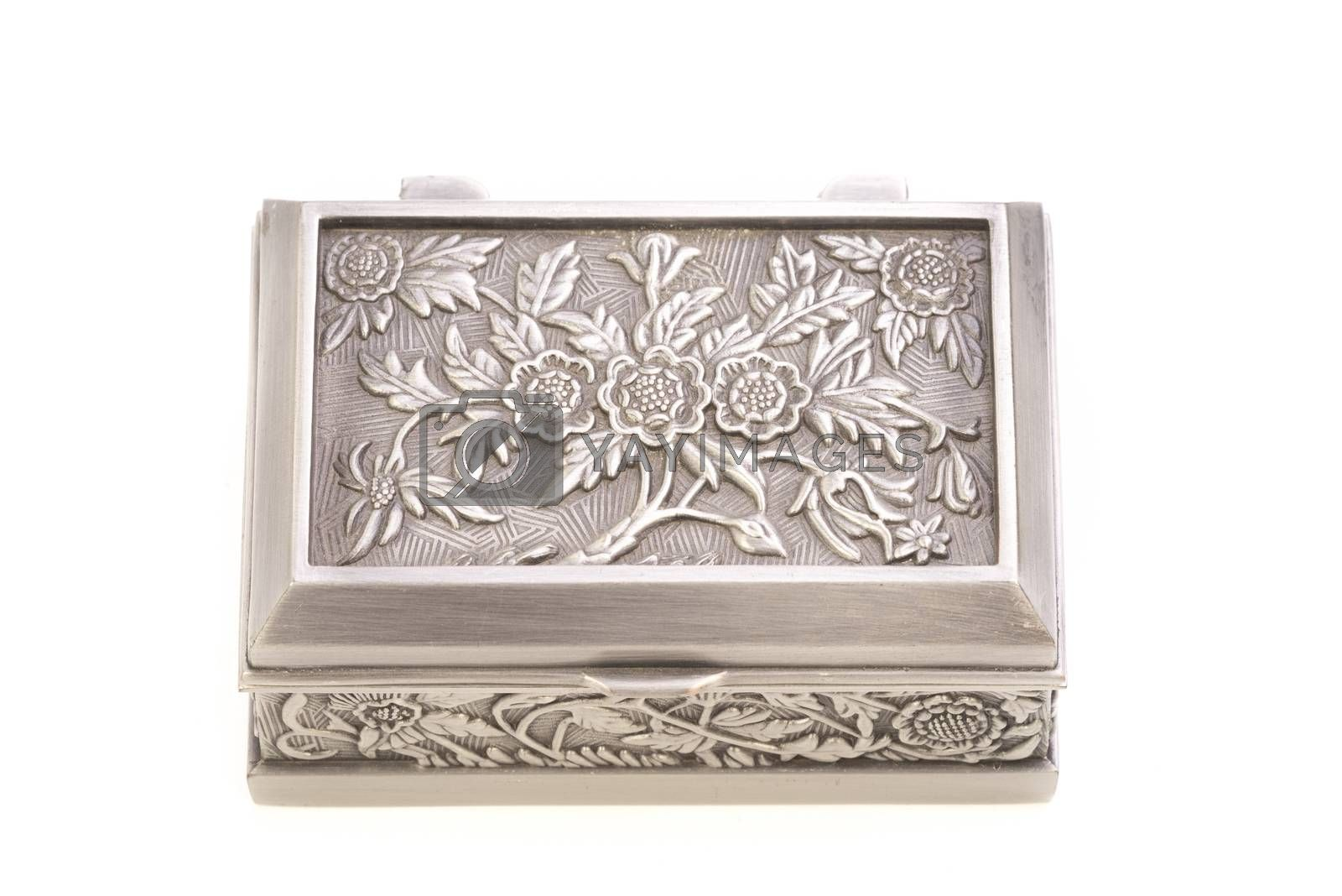 Top view of stylish jewelry silver box isolated on white.