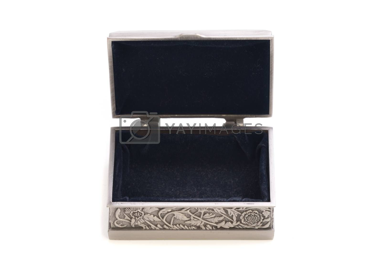 Top view of open and empty stylish jewelry silver box isolated on white.