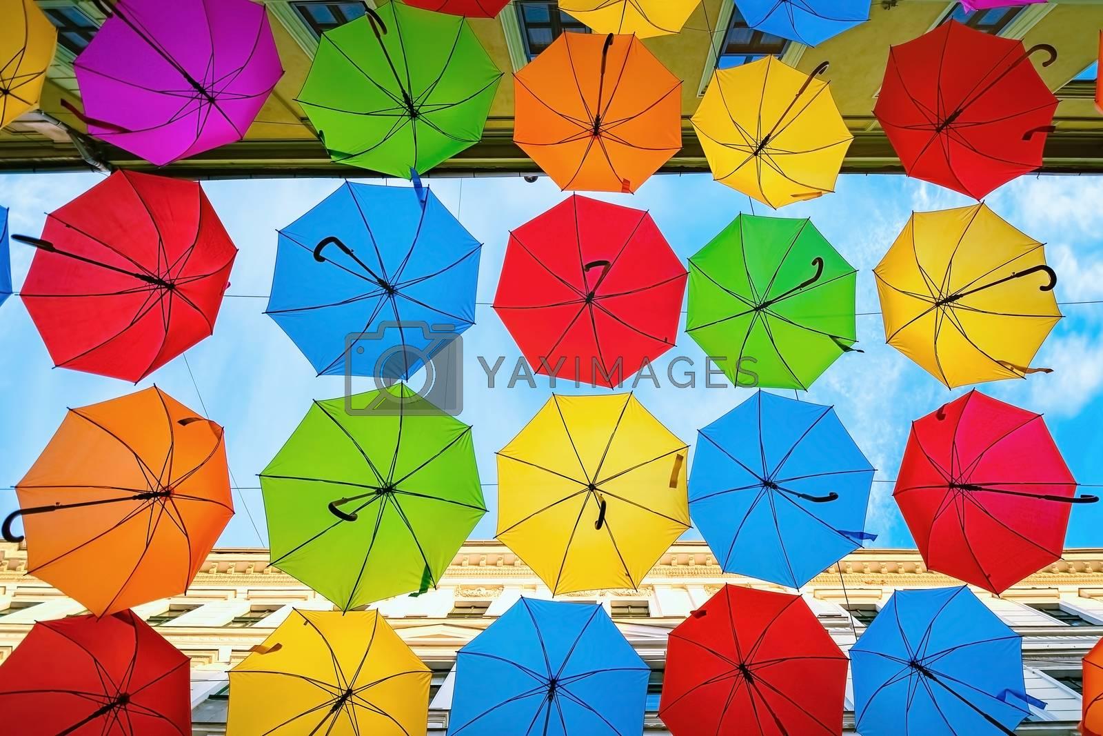 Umbrella street (Alba Iulia street) in Timisoara, Romania
