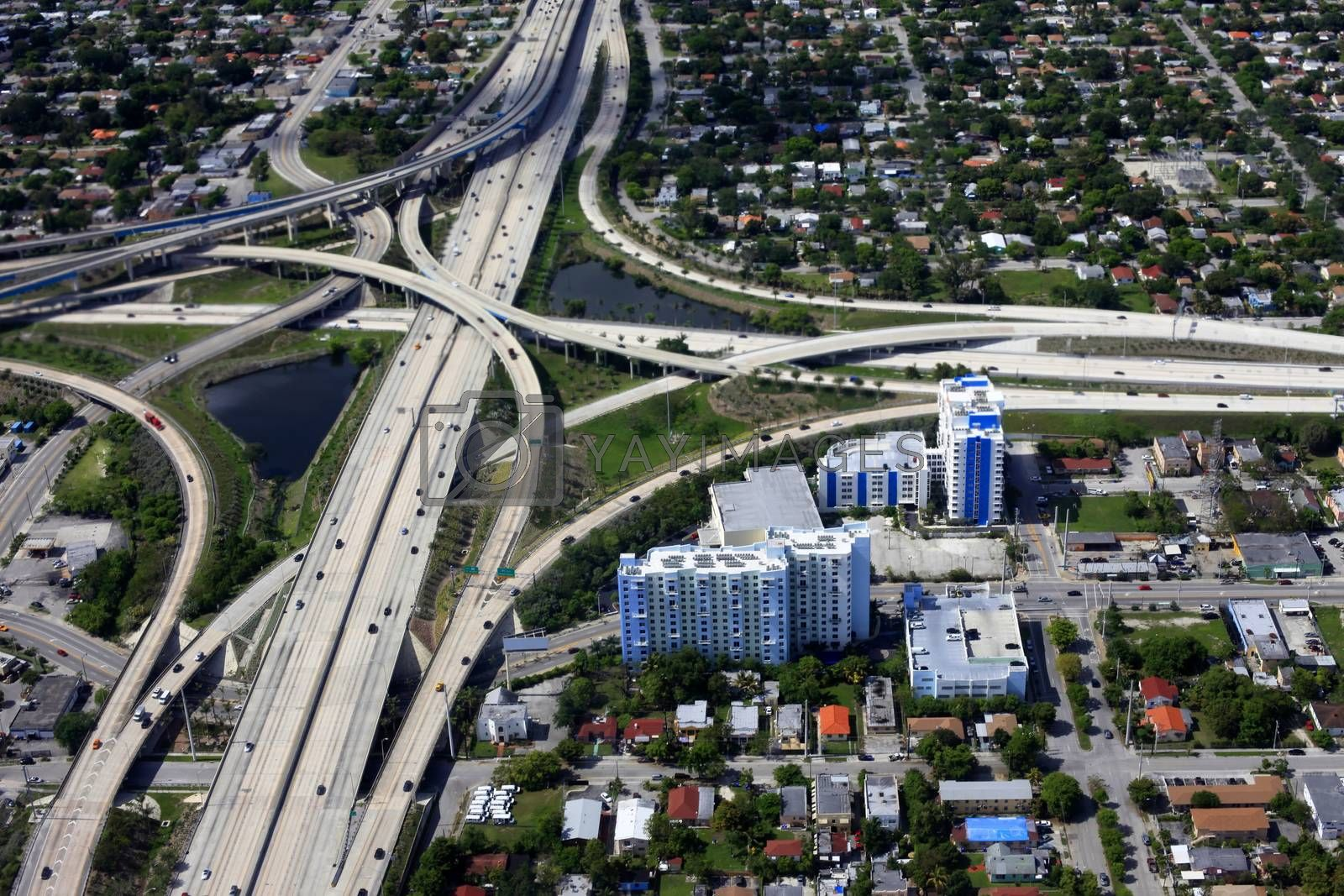 View from above of roads junction in Miami downtown.