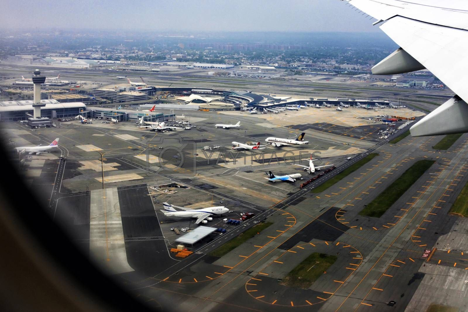 New York, NY, USA- May 20, 2013: Aerial view of John F. Kennedy International Airport in New York
