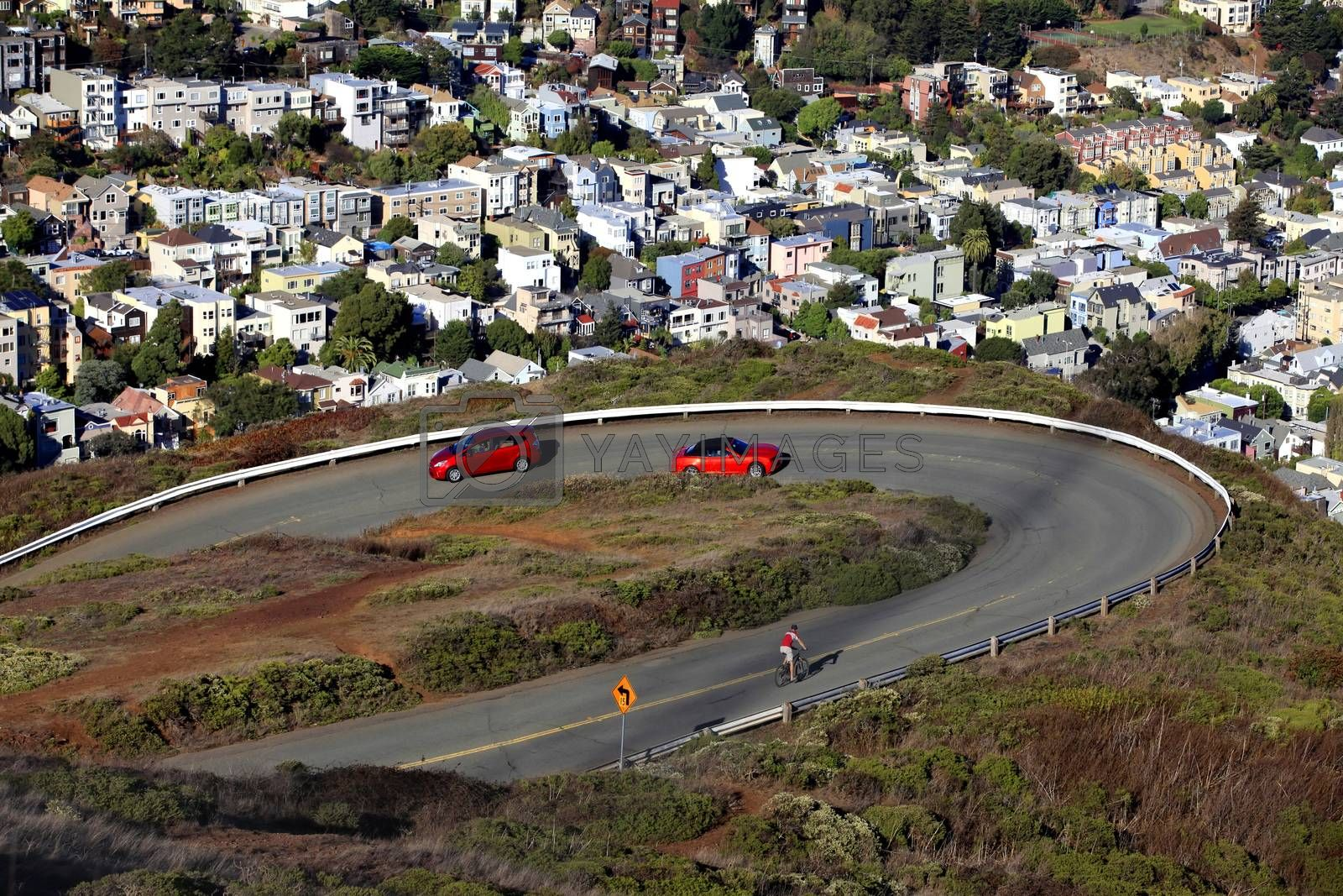 San Francisco, CA, USA - October 24, 2012: Top view with twin peaks on San Francisco