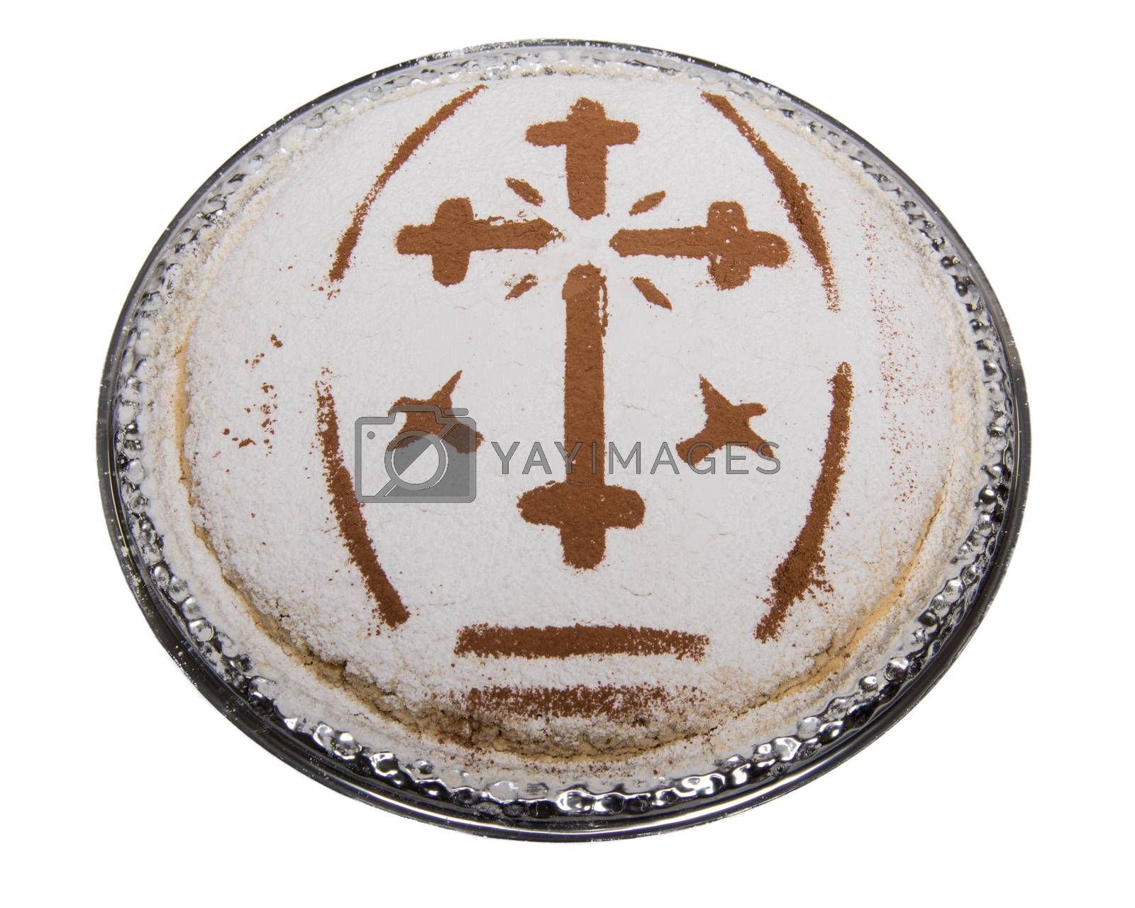 A plate with traditional Coliva, a dish based on boiled wheat that is used liturgically in the Eastern Orthodox Church for commemorations of the dead especially during Easter.