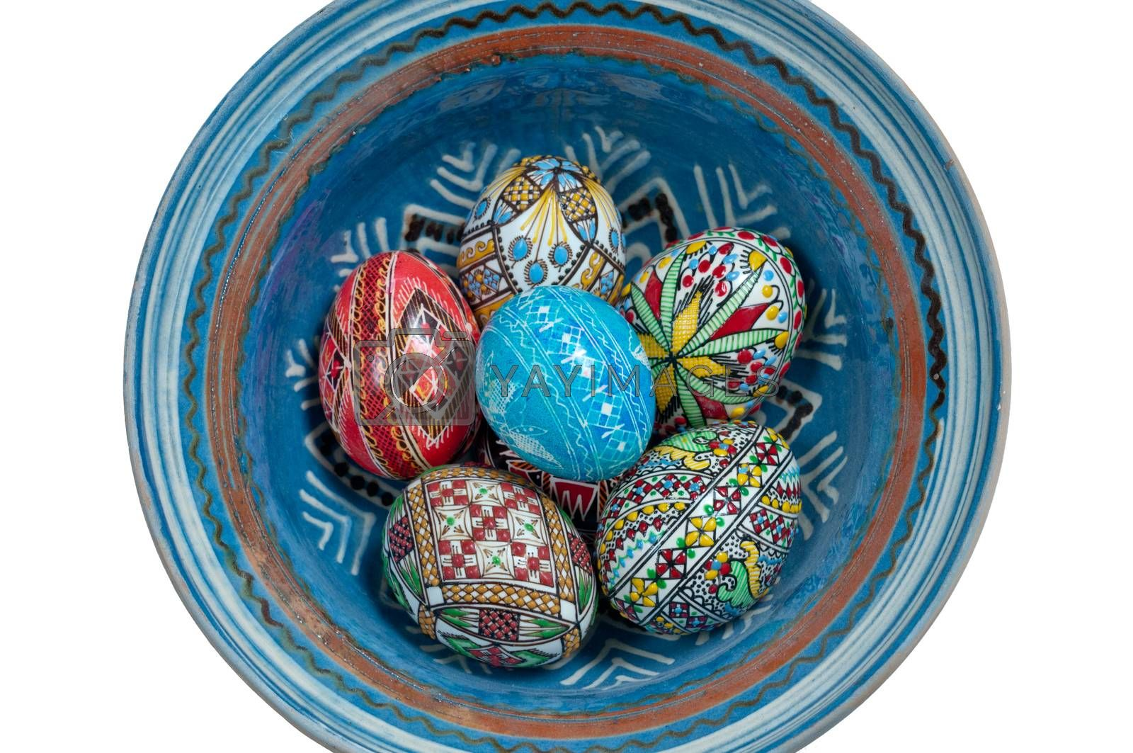 Set of Easter eggs painted in traditional Eastern European style with a floral/geometric design.