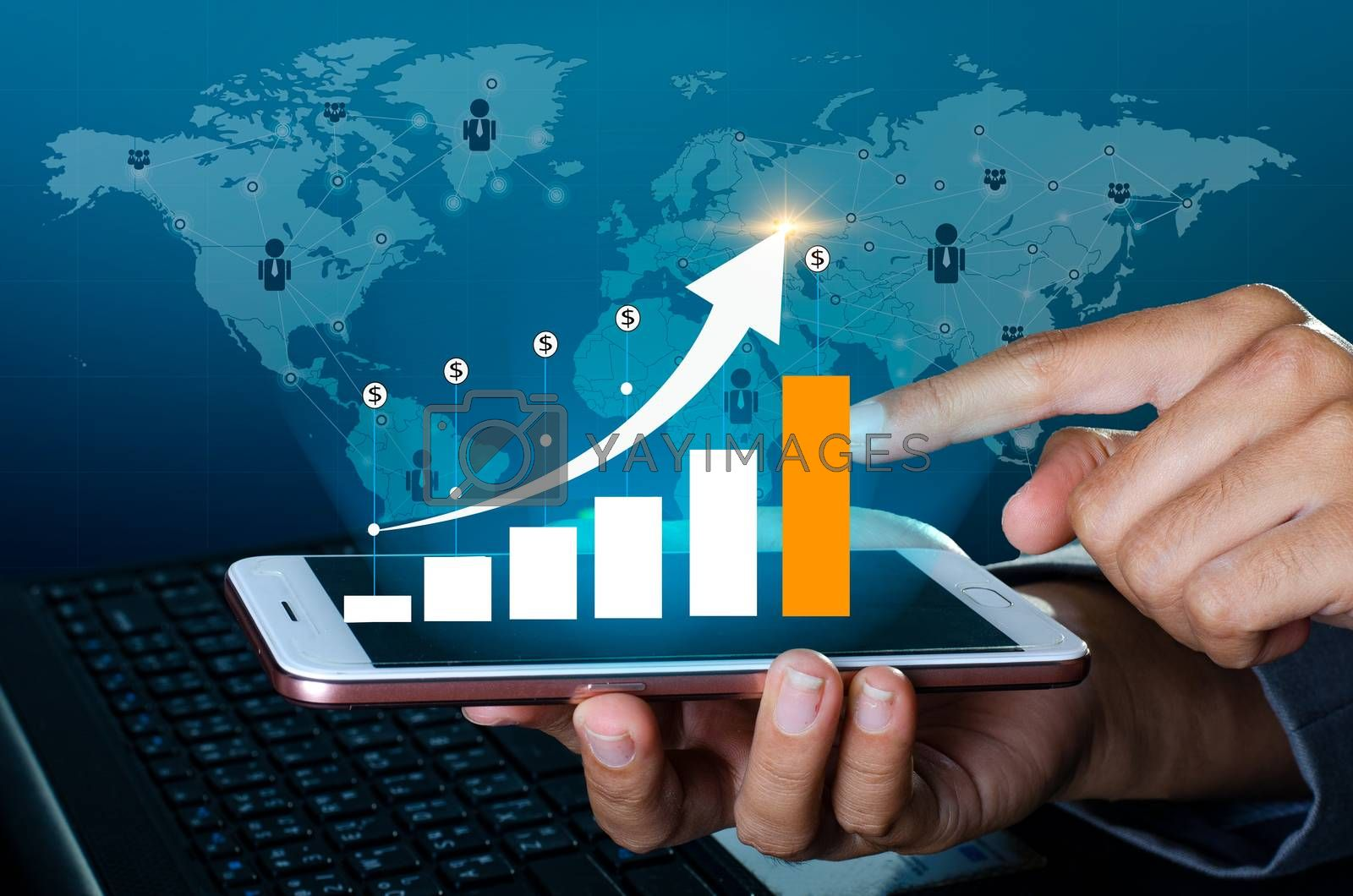 Graph of financial growth global communications Binary Smart Phones and world Internet Businesspeople press the phone to communicate in the Internet Stock chart Researching process.business Team Working Startup modern office Laptop global strategy virtual Icon.Innovation graphs Interfaces by Sarayut
