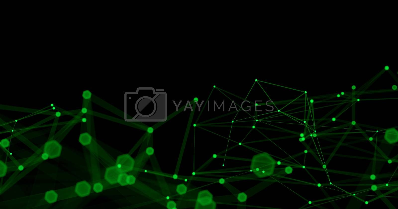 Abstract futuristic light wallpaper background design. Science dark pattern with structure mesh and lines. Modern business space triangular illustration with bokeh. 3D render by Shanvood