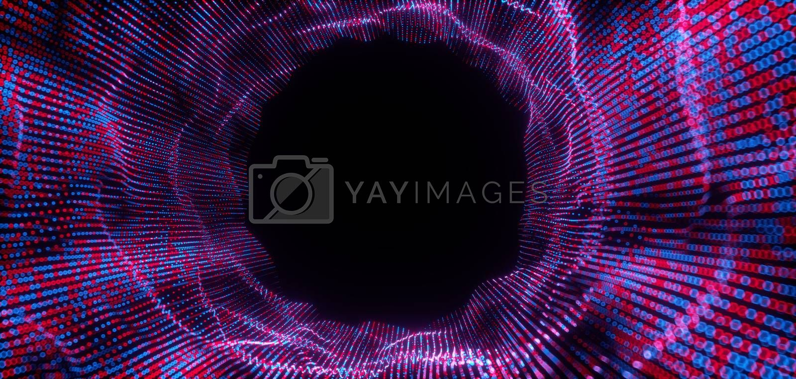 Abstract big data futuristic light wallpaper background design. Science dark pattern with structure mesh and circles. Modern business space dots illustration with bokeh. 3D render by Shanvood