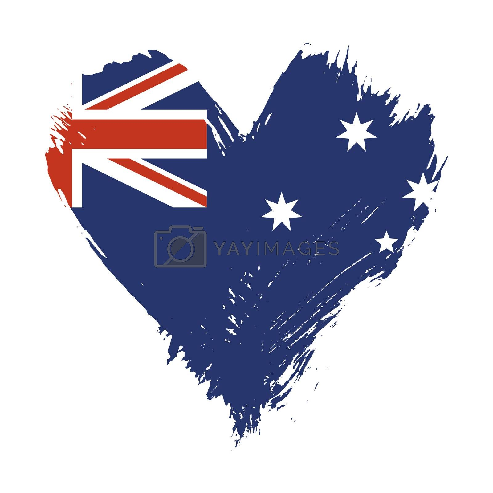 Grunge brushstroke painted illustration of heart shaped distressed Australian flag isolated on white background